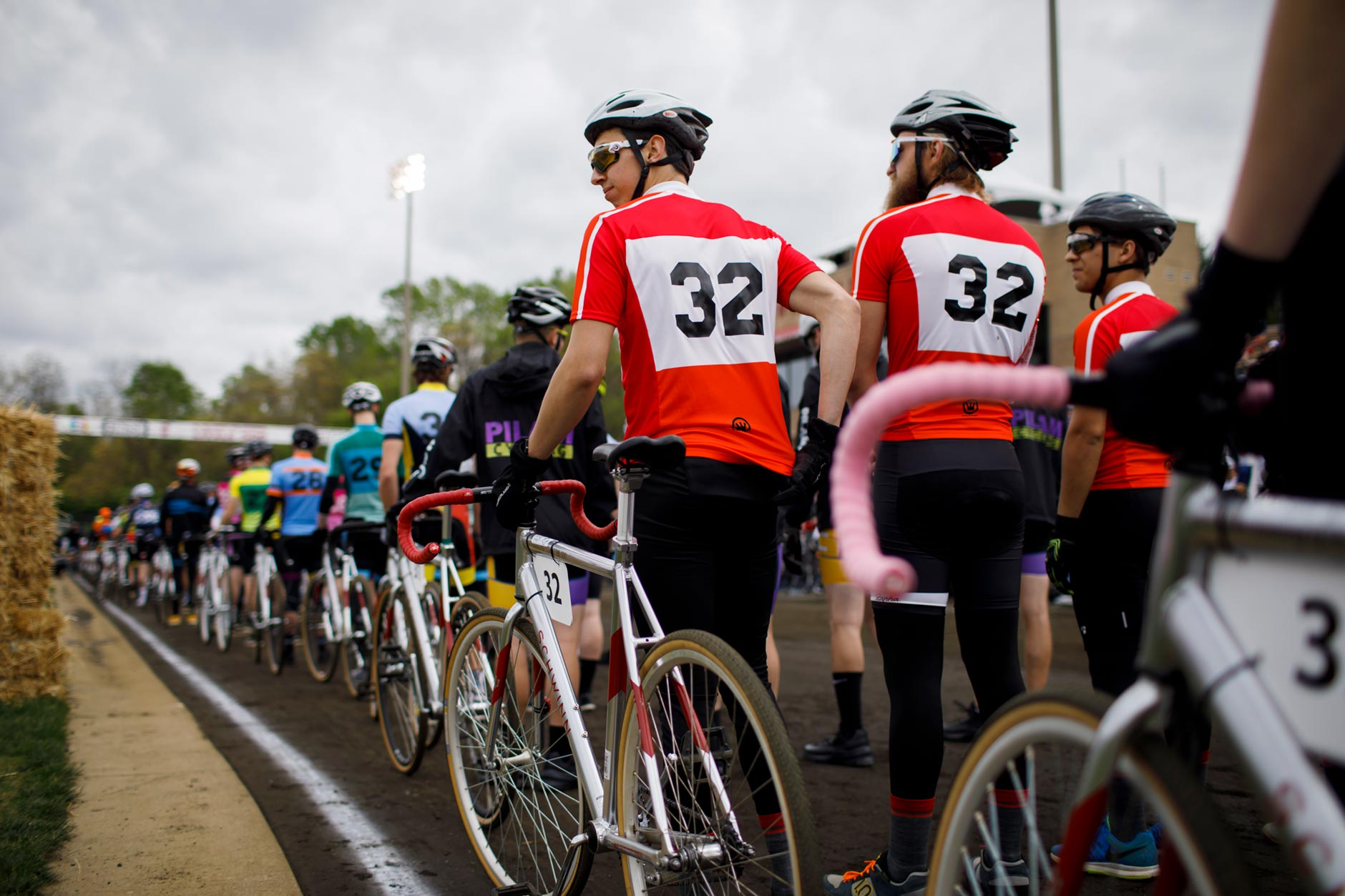 Riders wait in line for team introductions before the start of the Men's Little 500 at Bill Armstrong Stadium on Saturday, April 22, 2017. (James Brosher/IU Communications)