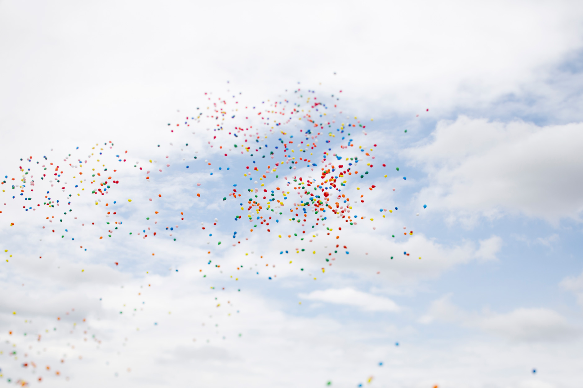 Balloons drift skywards before the start of the Men's Little 500 at Bill Armstrong Stadium on Saturday, April 22, 2017. (James Brosher/IU Communications)