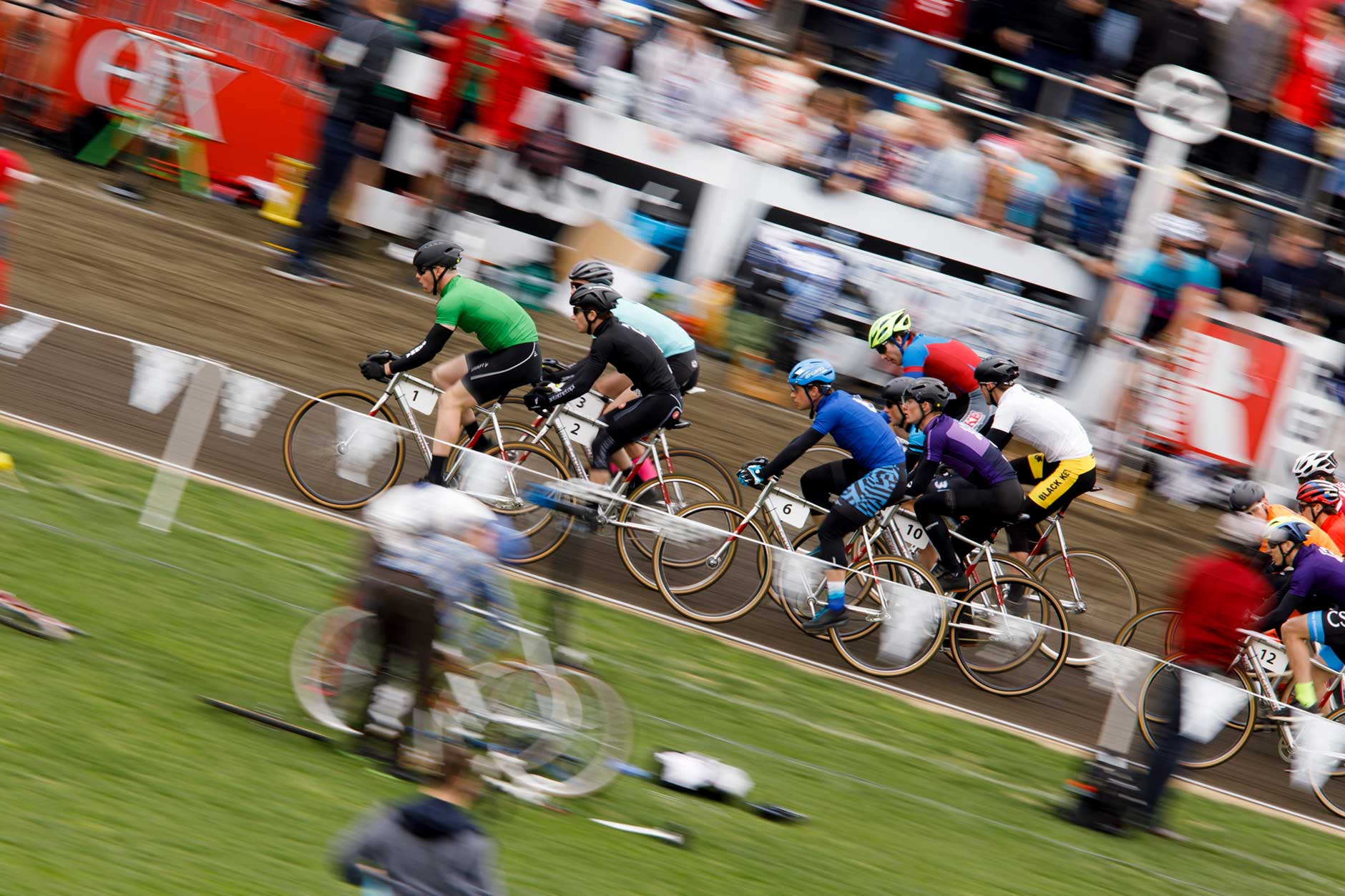 Riders race down the backstretch during the early laps of the Men's Little 500 at Bill Armstrong Stadium on Saturday, April 22, 2017. (James Brosher/IU Communications)
