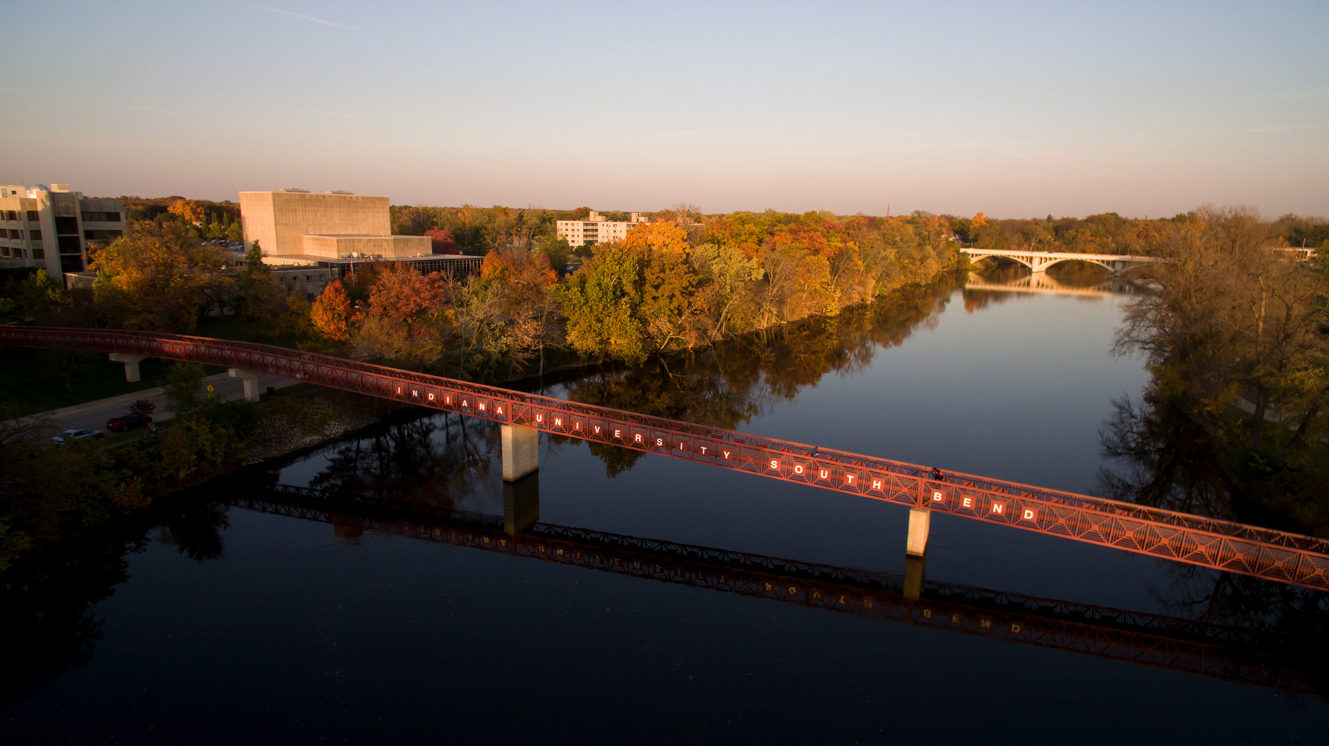 The St. Joseph River flows through the Indiana University South Bend campus on a fall evening on Tuesday, Nov. 1, 2016. (James Brosher/Indiana University)