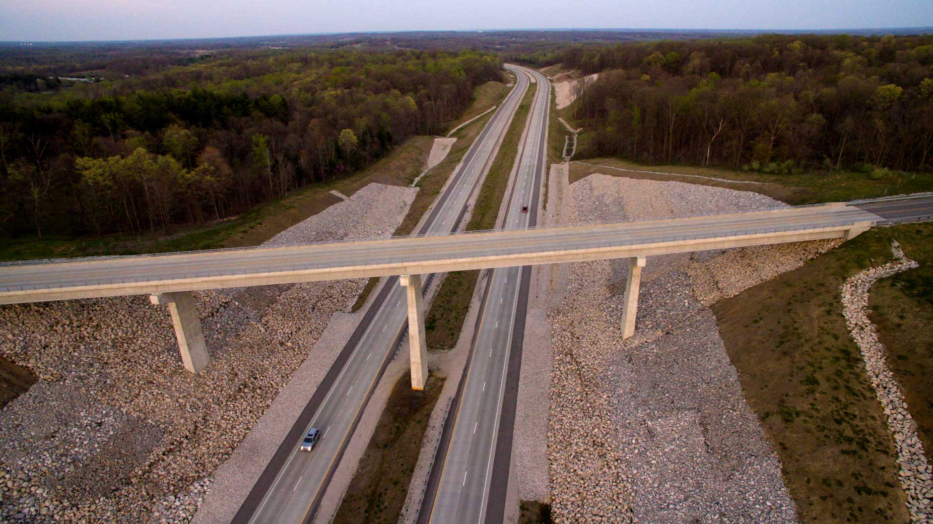 The Harmony Road bridge spanning Interstate 69 is seen from the air near Bloomington, Indiana on Wednesday, April 12, 2017. (Photo by James Brosher)