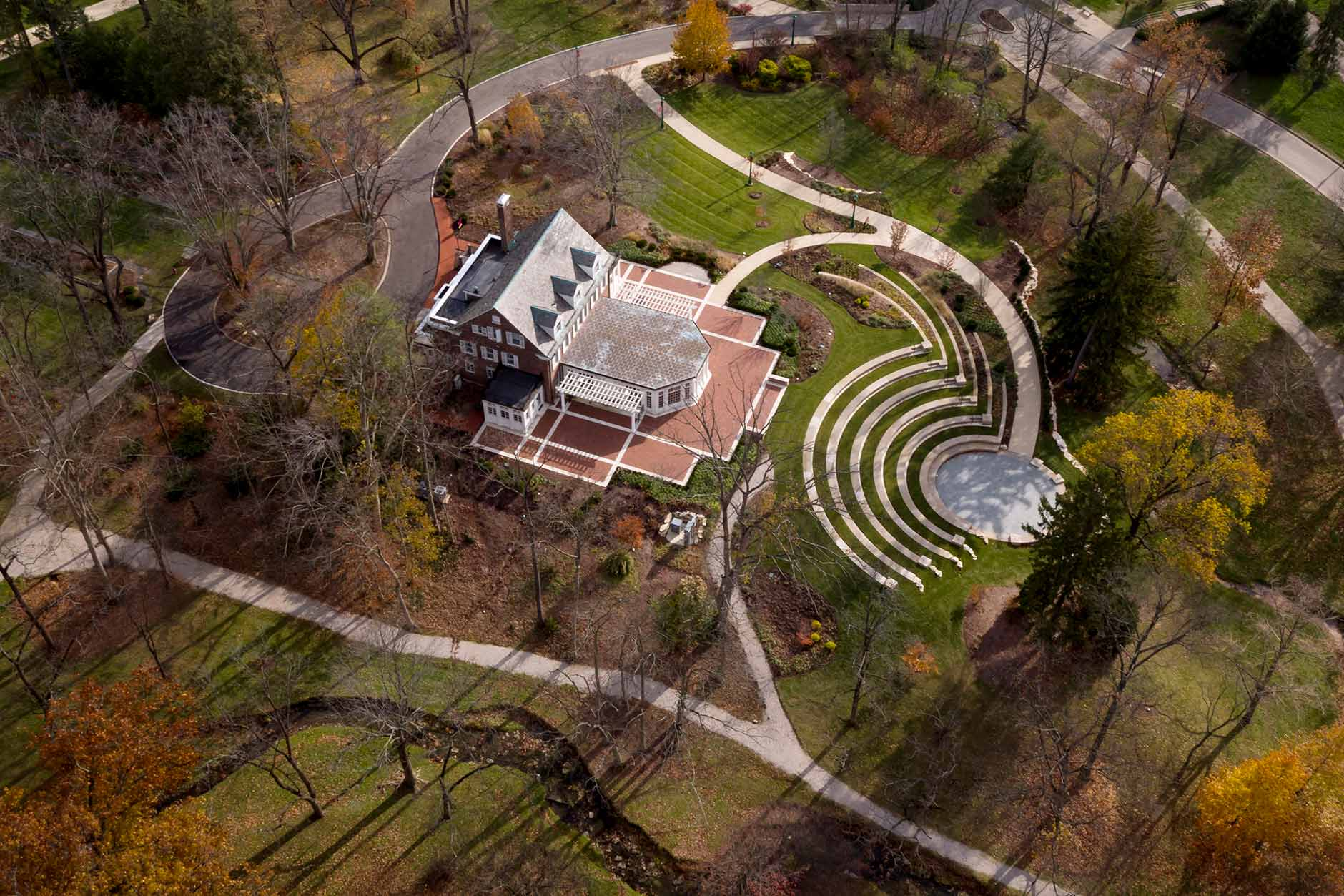 Bryan House including the Tobias Pavilion and Prebys Amphitheater is pictured from the air on a fall day at Indiana University Bloomington on Tuesday, Nov. 21, 2017.