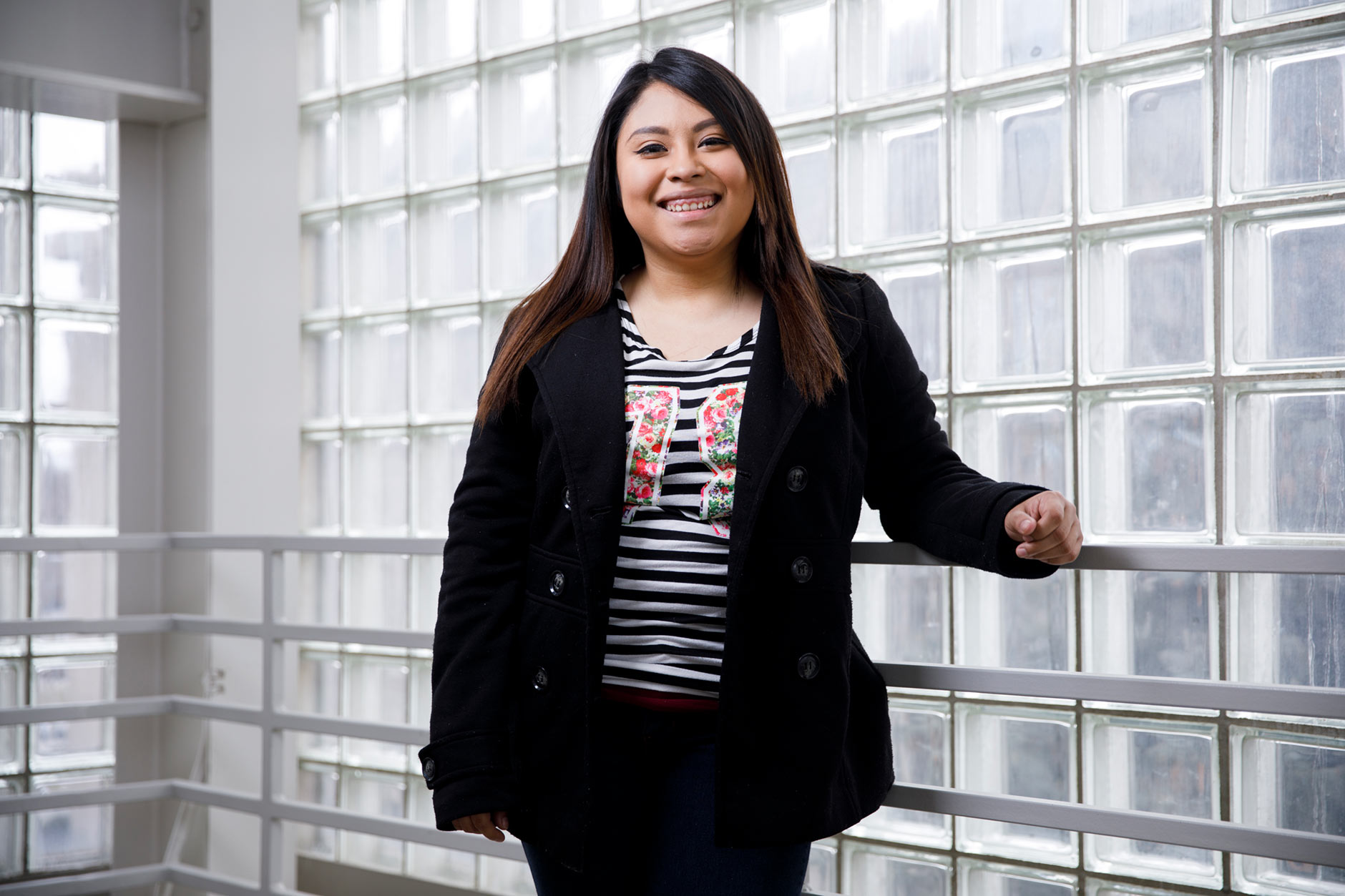 Gabriela Jaimes, a graduating senior at IU Northwest, poses for a portrait on campus in Gary on Tuesday, March 20, 2018. (James Brosher/IU Communications)