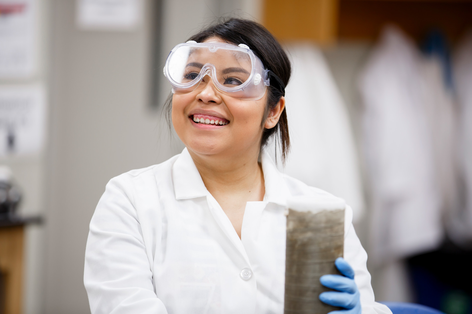 Gabriela Jaimes, a graduating senior at IU Northwest, works in a Chemistry lab on campus on Tuesday, March 20, 2018. (James Brosher/IU Communications)