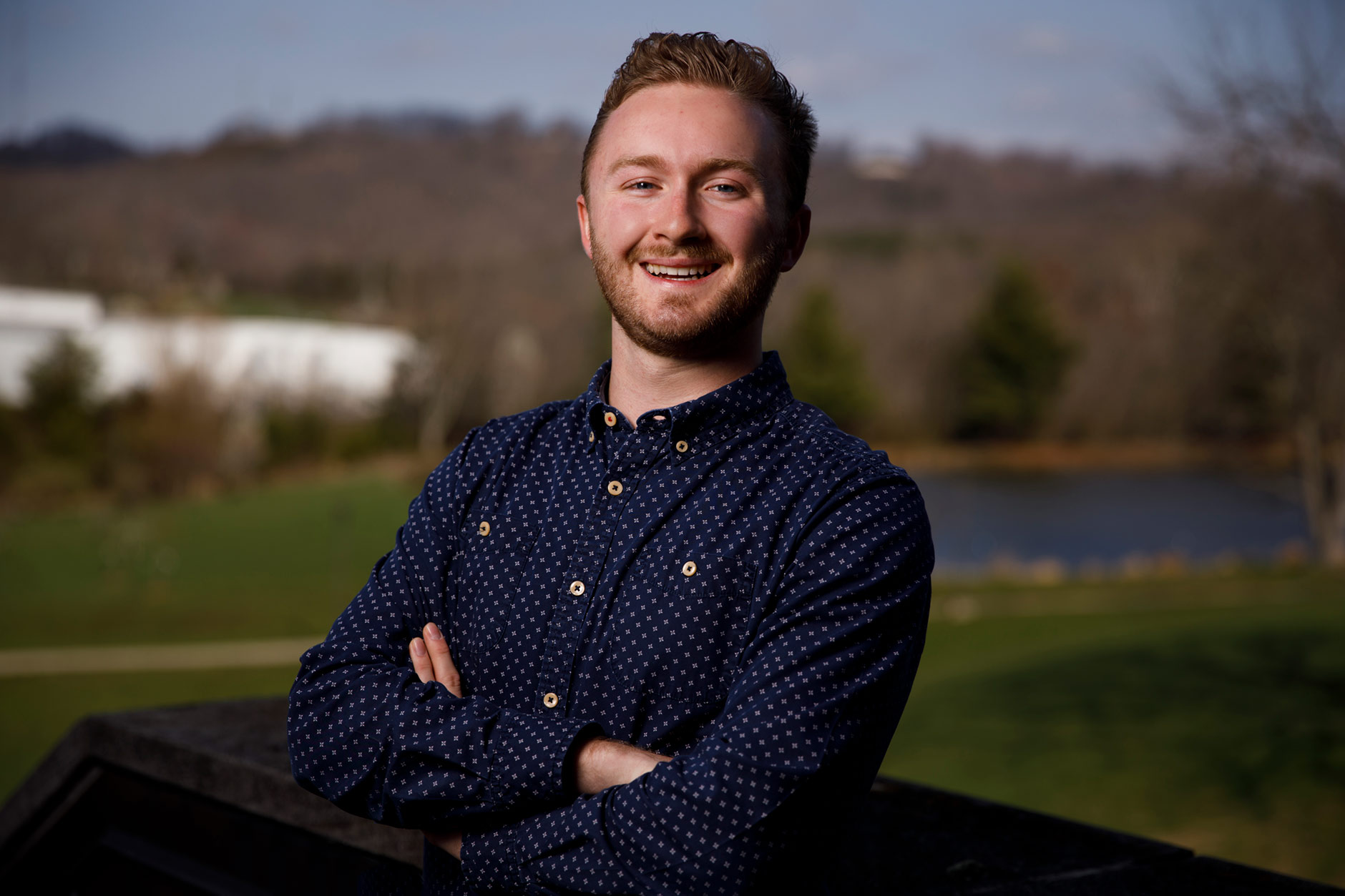 Roger Howard, a graduating senior at IU Southeast, poses for a portrait on the campus in New Albany on Tuesday, April 3, 2018. (James Brosher/IU Communications)