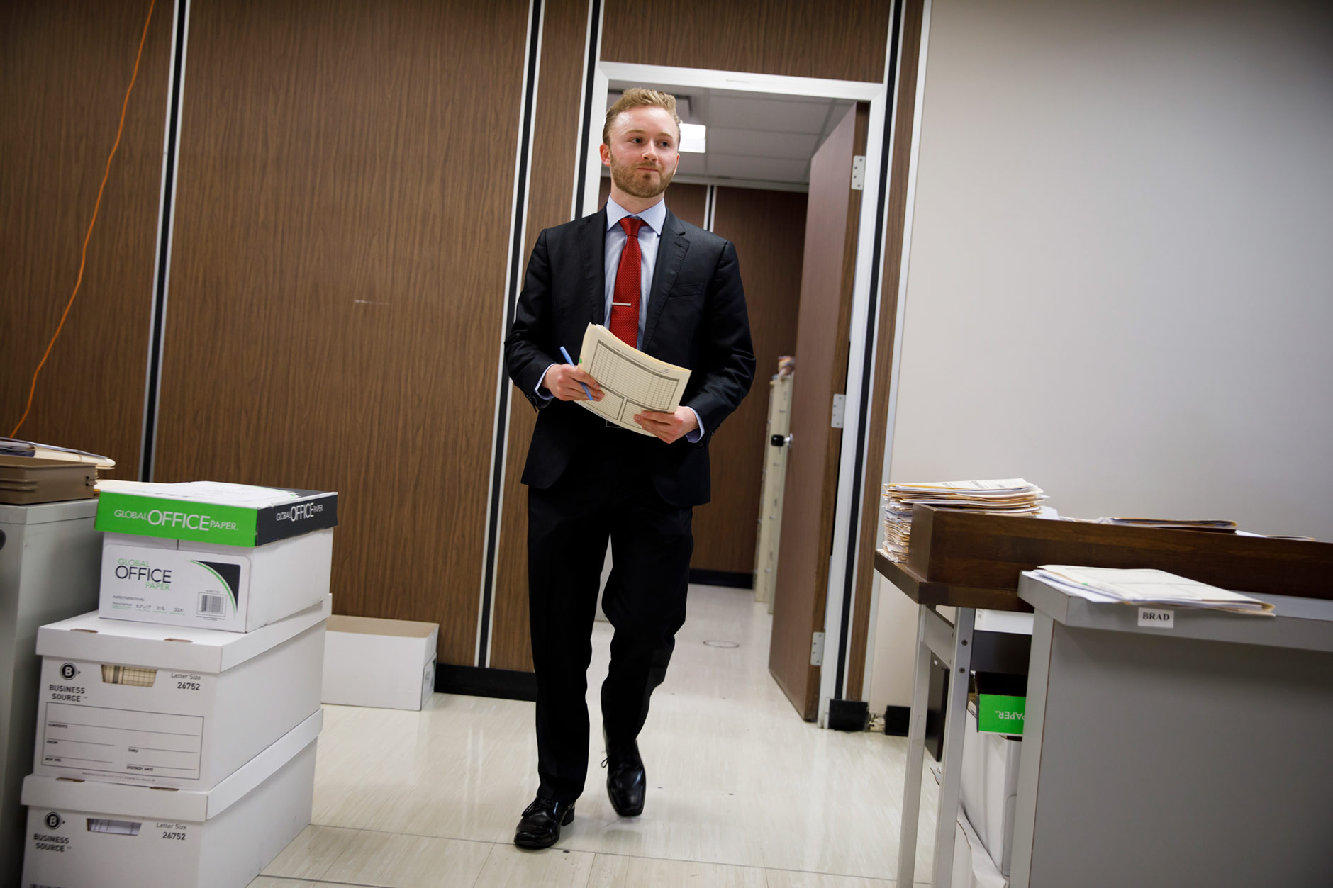 Roger Howard, a graduating senior at IU Southeast, works in the prosecutor's office at the Clark County Courthouse in Jeffersonville on Tuesday, April 3, 2018. (James Brosher/IU Communications)