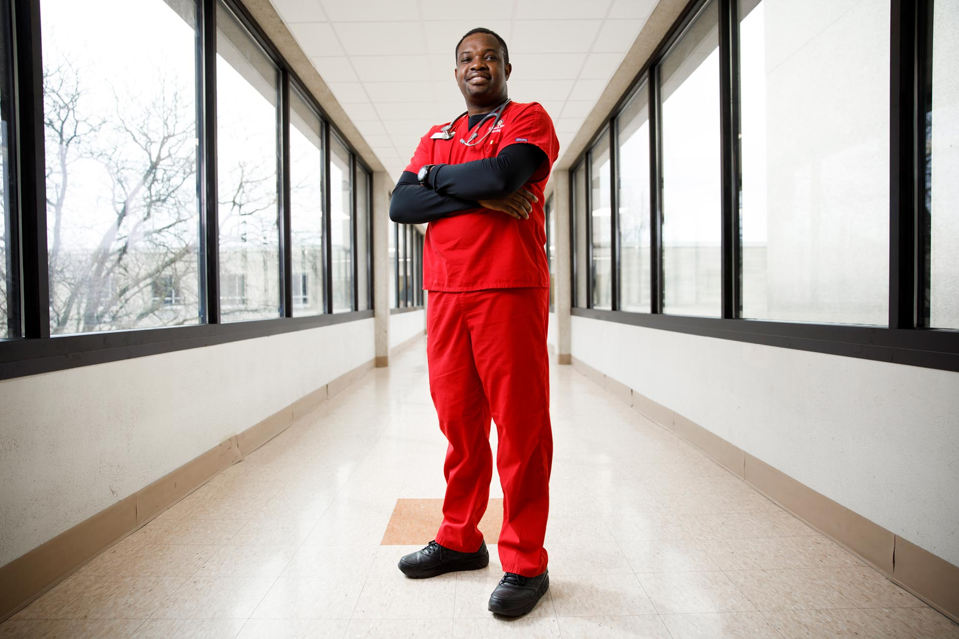 Desmond Atem, a graduating senior at IU South Bend, poses for a portrait in South Bend on Monday, April 9, 2018. (James Brosher/IU Communications)