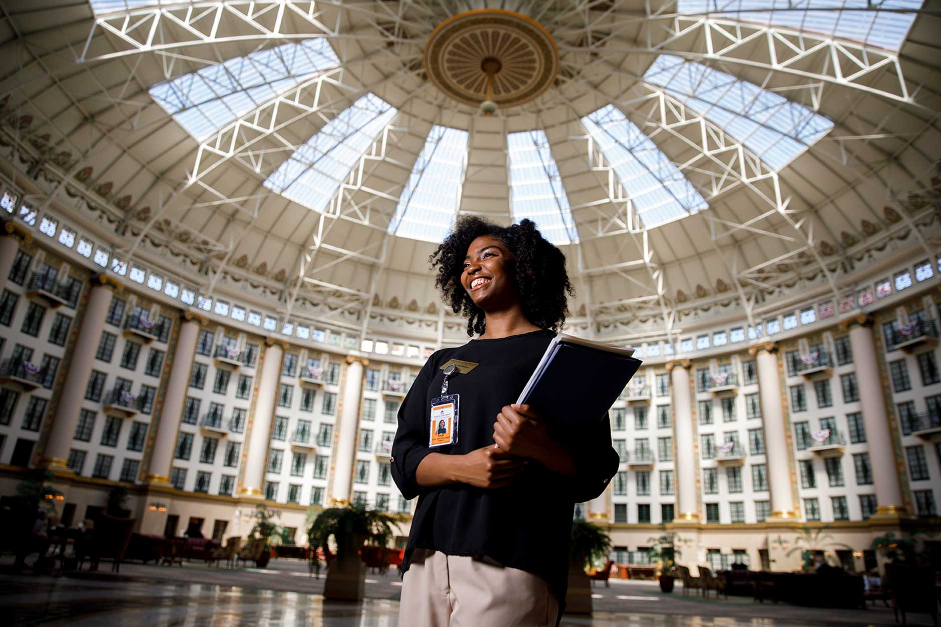 Indiana University Bloomington senior Sade Roberson, an intern at the West Baden Springs Hotel, poses for a portrait at the hotel on Wednesday, May 23, 2018. (James Brosher/IU Communications)