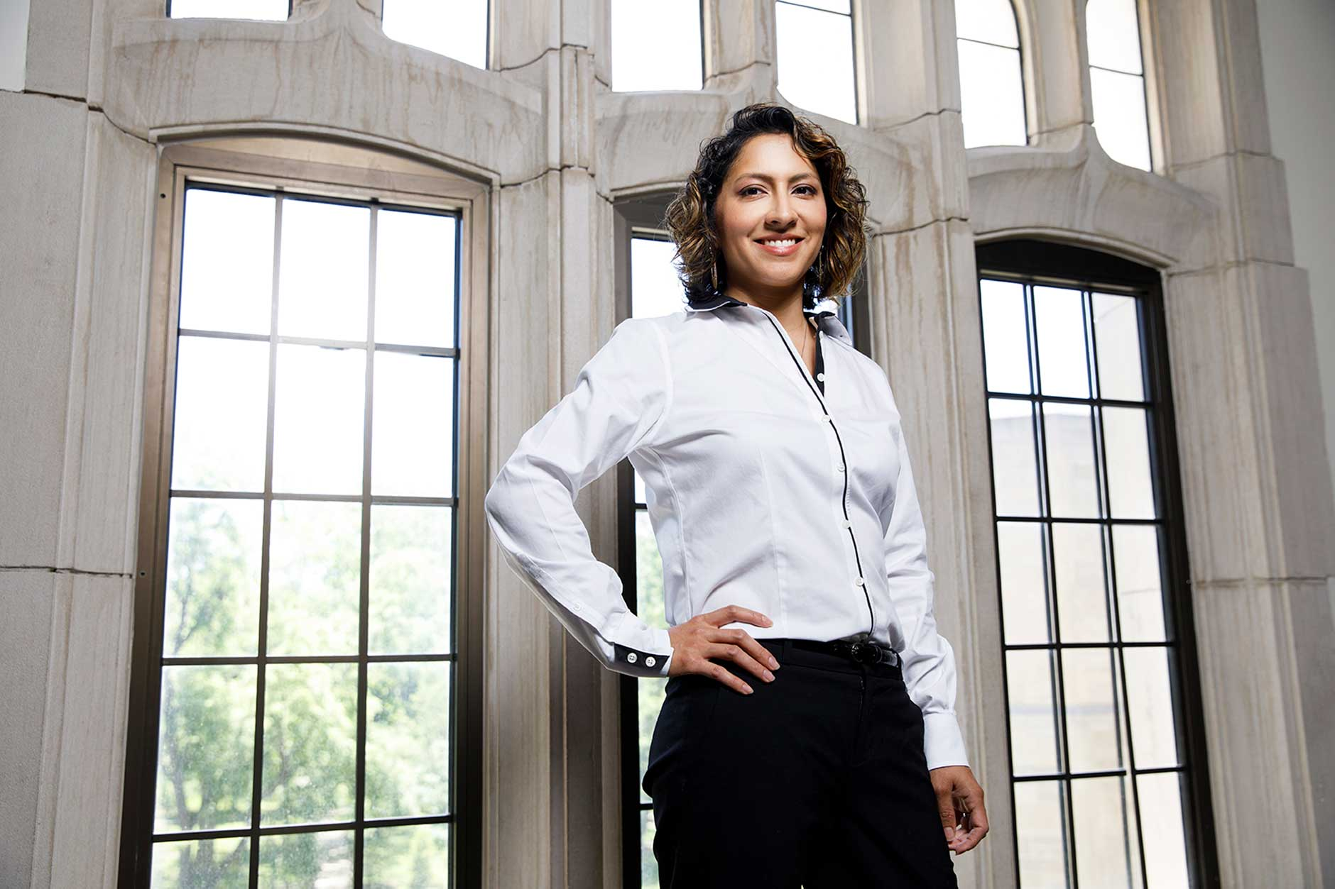 Indiana University Visiting Assistant Professor Vanessa Cruz Nichols poses for a portrait in Woodburn Hall on Thursday, May 24, 2018. (James Brosher/IU Communications)