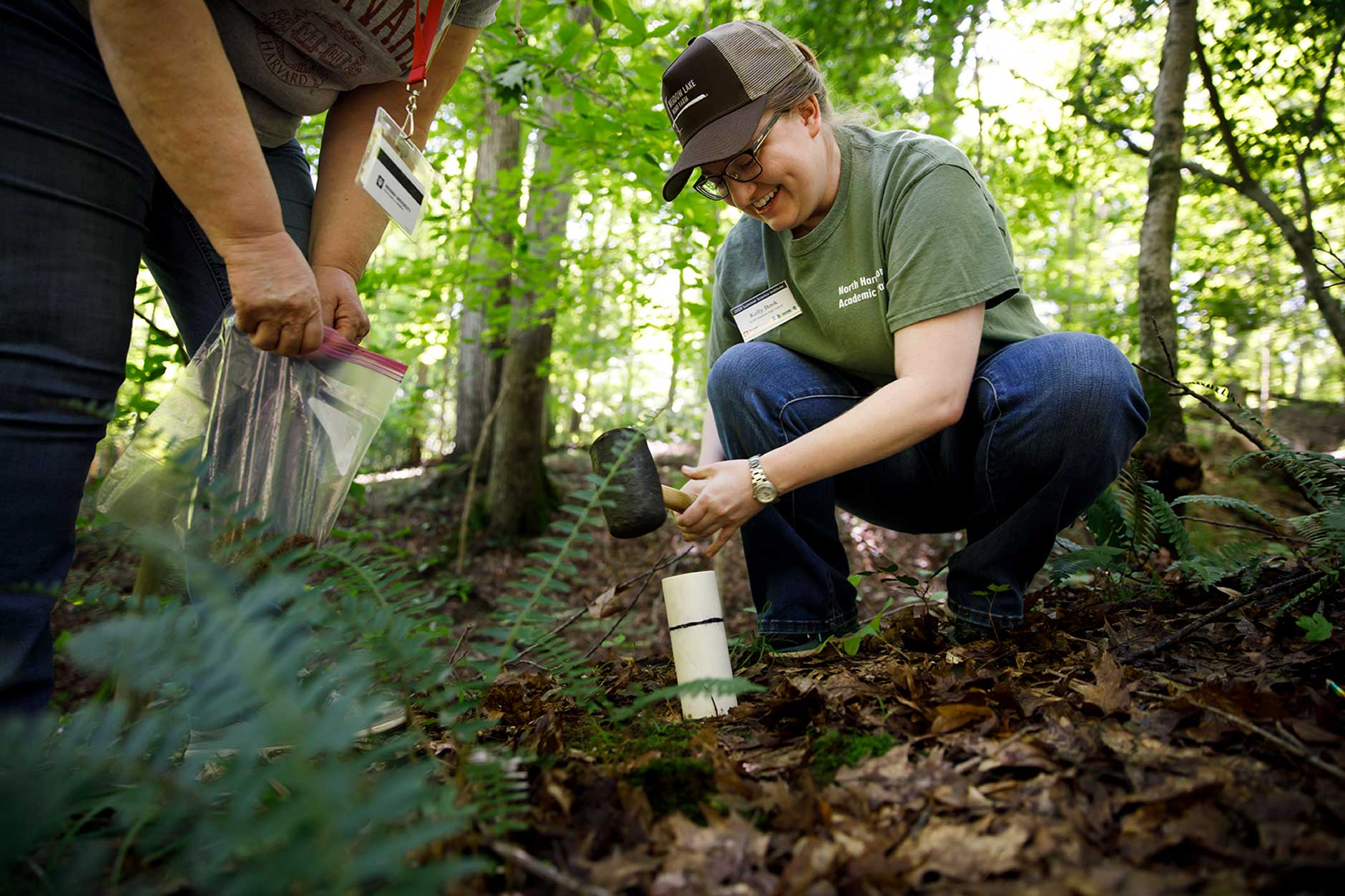 North Harrison High School teacher Kelly Book takes a soil sample at the Indiana University Research and Teaching Preserve on Thursday, June 14, 2018. Indiana high school and middle school teachers are participating in a three-day workshop hosted by the IU Environmental Resilience Institute and WonderLab. (James Brosher/IU Communications)