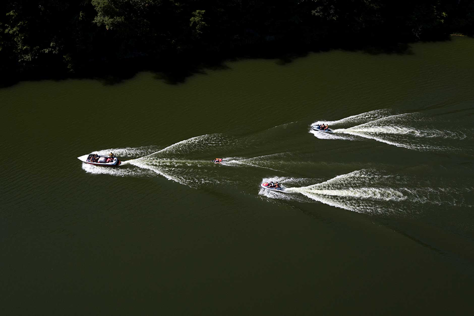 Campers take part in an adaptive water skiing activity at Bradford Woods near Martinsville on Tuesday, July 17, 2018. The water skiing is organized by the Rehabilitation Hospital of Indiana (RHI). (James Brosher/IU Communications)