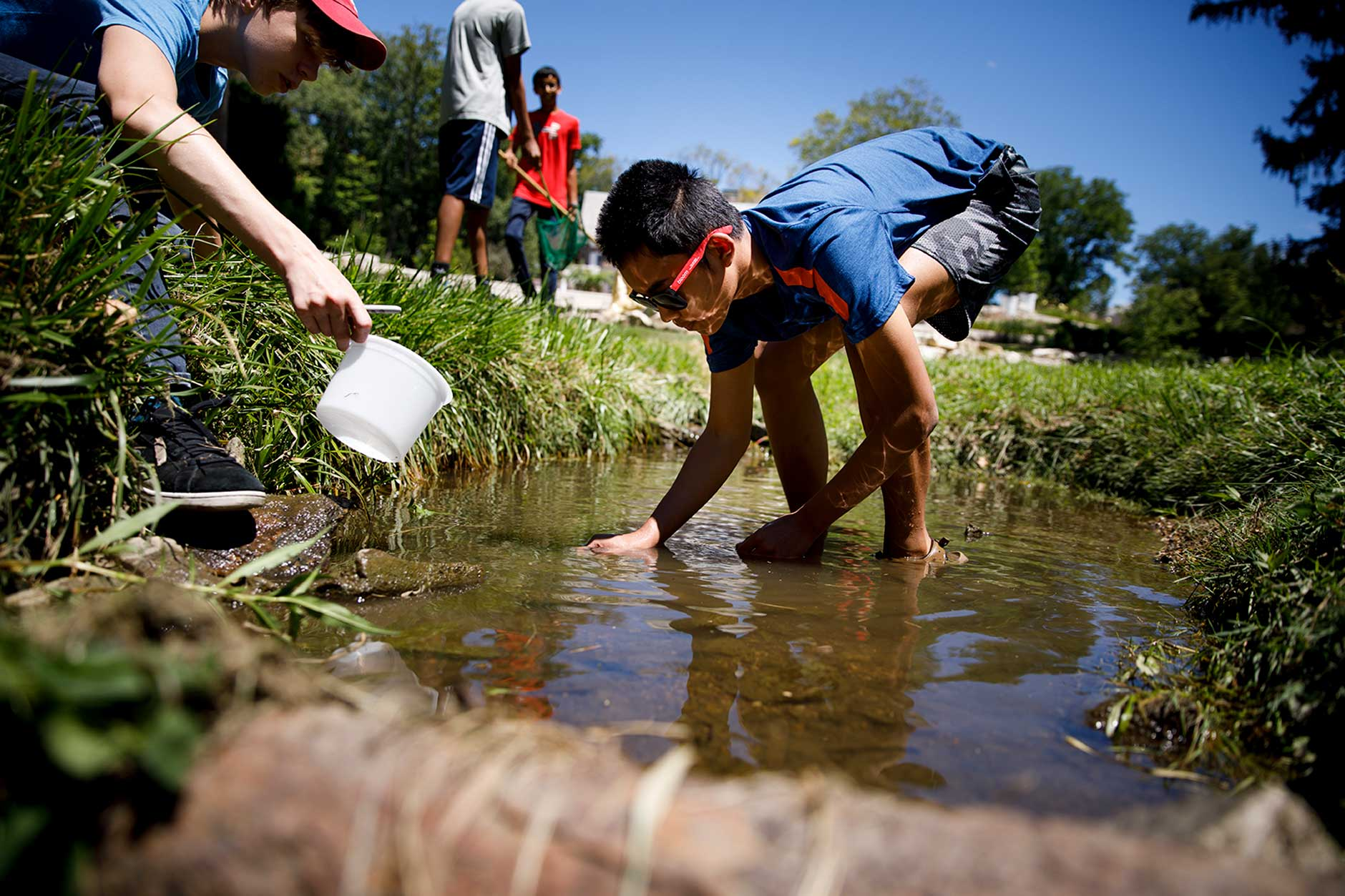 Ravi Wijayanto, center, a ninth grader at Bloomington High School North, attempts to catch a crayfish in the Jordan River near Bryan House on Wednesday, July 18, 2018. The research is part of Foundations in Science and Mathematics, a two-week summer course for high school students. (James Brosher/IU Communications)