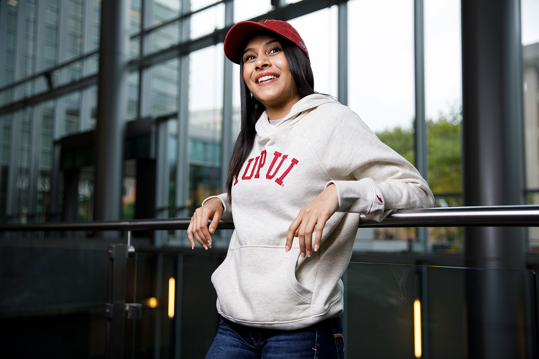 IUPUI student Naeema Patel poses for a portrait during a IUPUI apparel fashion photo shoot at the Campus Center on Wednesday, Aug. 8, 2018.