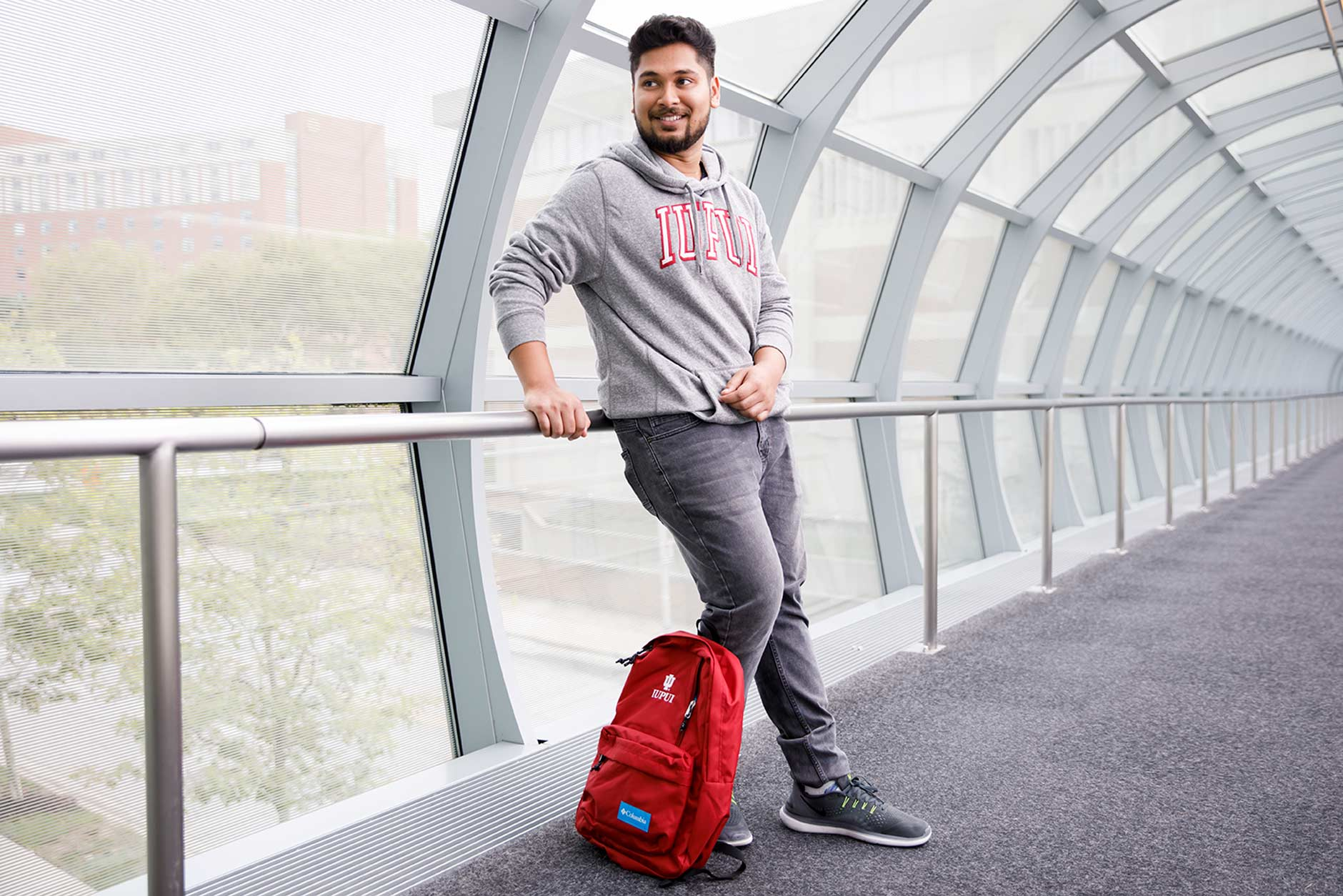 IUPUI student Harshal Dhamade poses for a portrait during a IUPUI apparel fashion photo shoot at the Campus Center on Wednesday, Aug. 8, 2018.