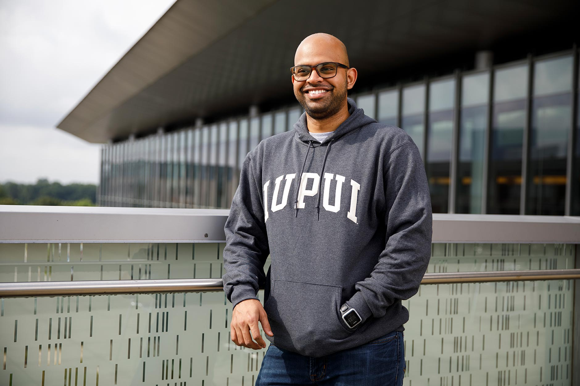 IUPUI student Karan Patel poses for a portrait during a IUPUI apparel fashion photo shoot at the Campus Center on Wednesday, Aug. 8, 2018.