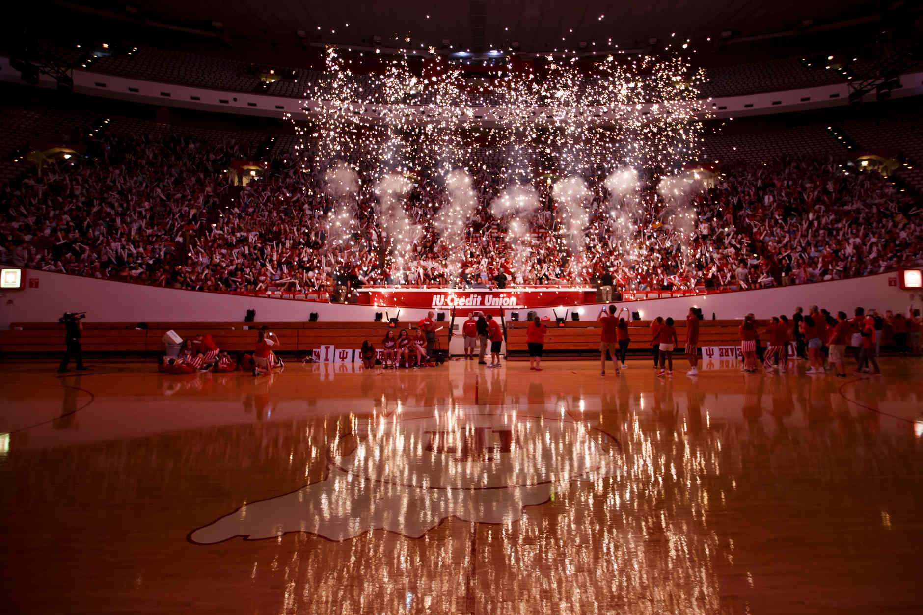 Fireworks explode during the Traditions and Spirit of IU at Assembly Hall on Friday, Aug. 17, 2018. (James Brosher/IU Communications)