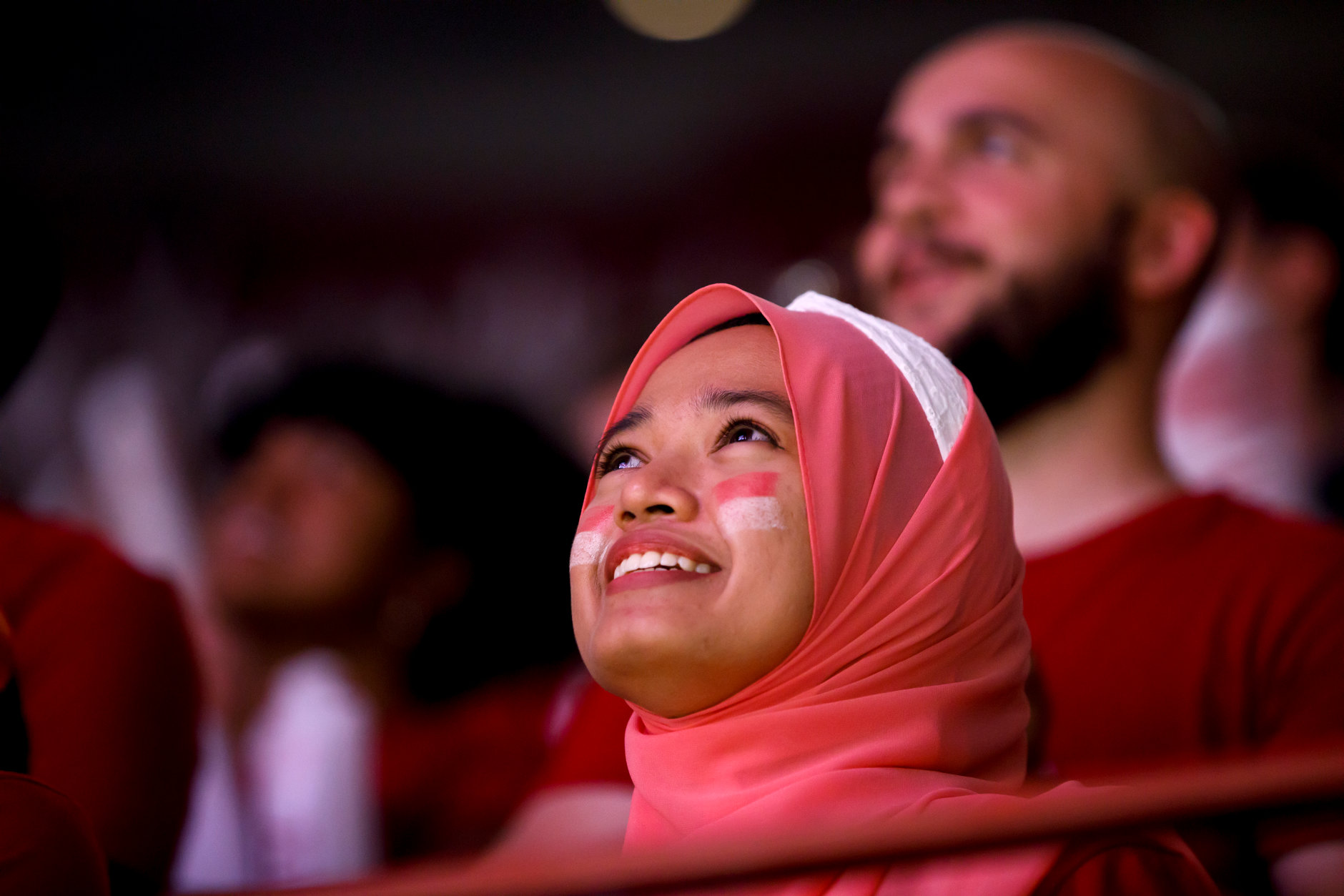 A student watches the proceedings during the Traditions and Spirit of IU at Assembly Hall on Friday, Aug. 17, 2018. (James Brosher/IU Communications)