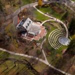 Bryan House including the Tobias Pavilion and Prebys Amphitheater is pictured from the air on a fall day at Indiana University Bloomington on Tuesday, Nov. 21, 2017. (James Brosher/IU Communications)