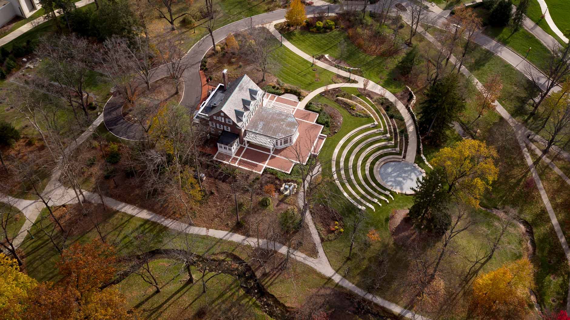Bryan House including the Tobias Pavilion and Prebys Amphitheater is pictured from the air on a fall day at Indiana University Bloomington on Tuesday, Nov. 21, 2017. (James Brosher/Indiana University)