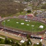 Bill Armstrong Stadium is pictured from the air during the Men's Little 500 on Saturday, April 21, 2018. (James Brosher/IU Communications)