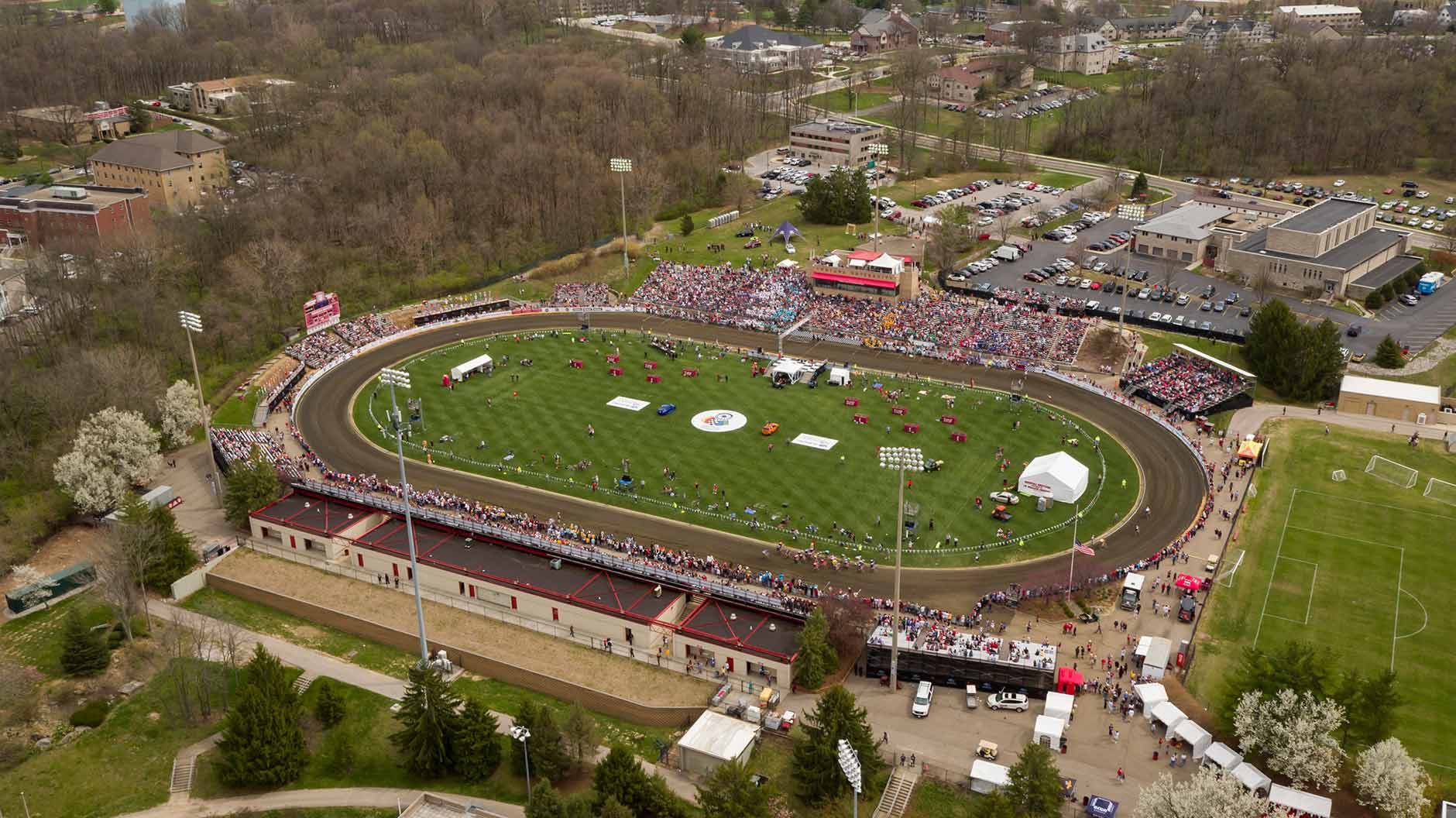 Bill Armstrong Stadium is pictured from the air during the Men's Little 500 on Saturday, April 21, 2018. (James Brosher/Indiana University)
