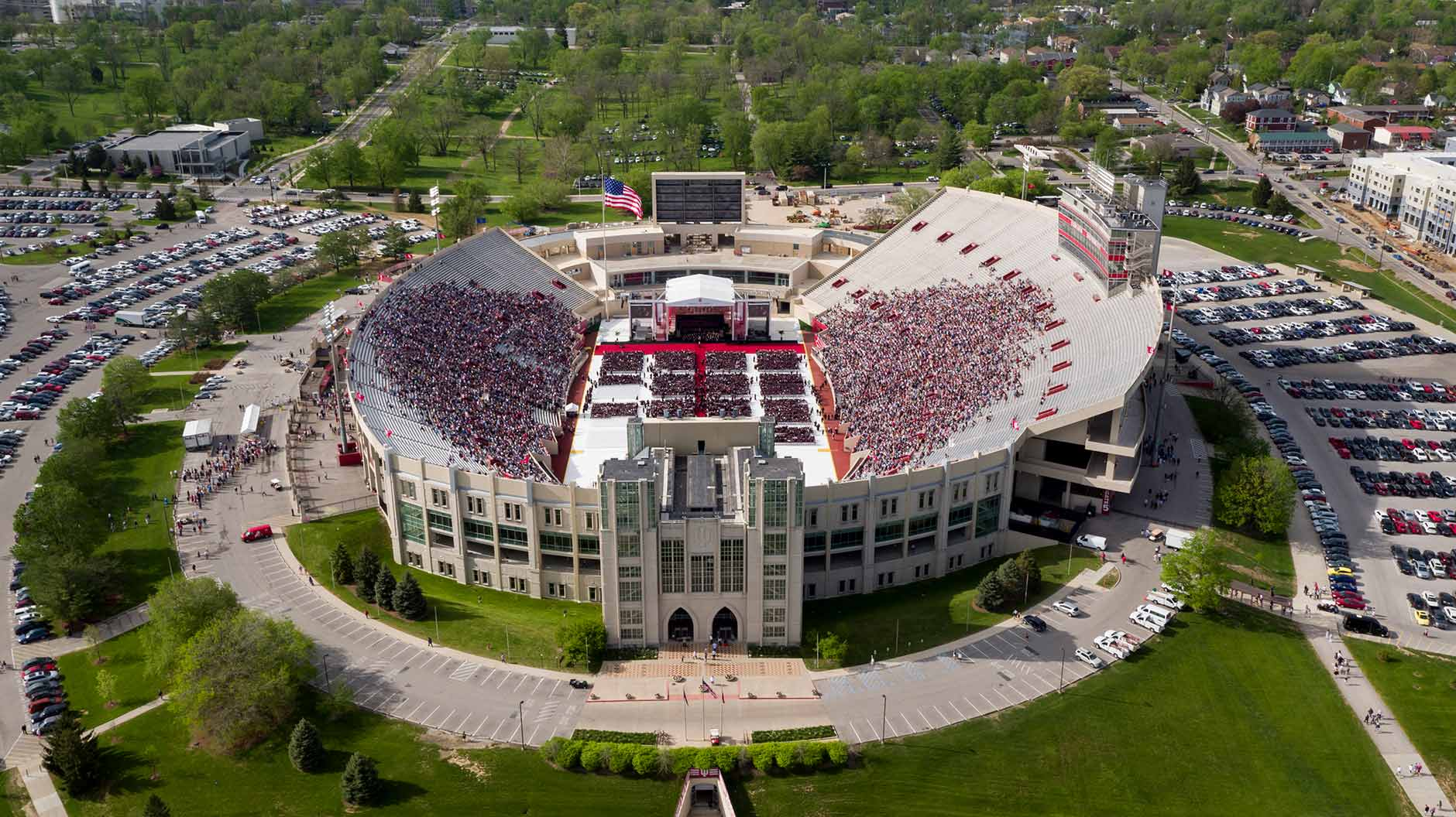 Graduates file into seats during the processional of the Indiana University Bloomington Undergraduate Commencement in Memorial Stadium on Saturday, May 5, 2018. (James Brosher/Indiana University)