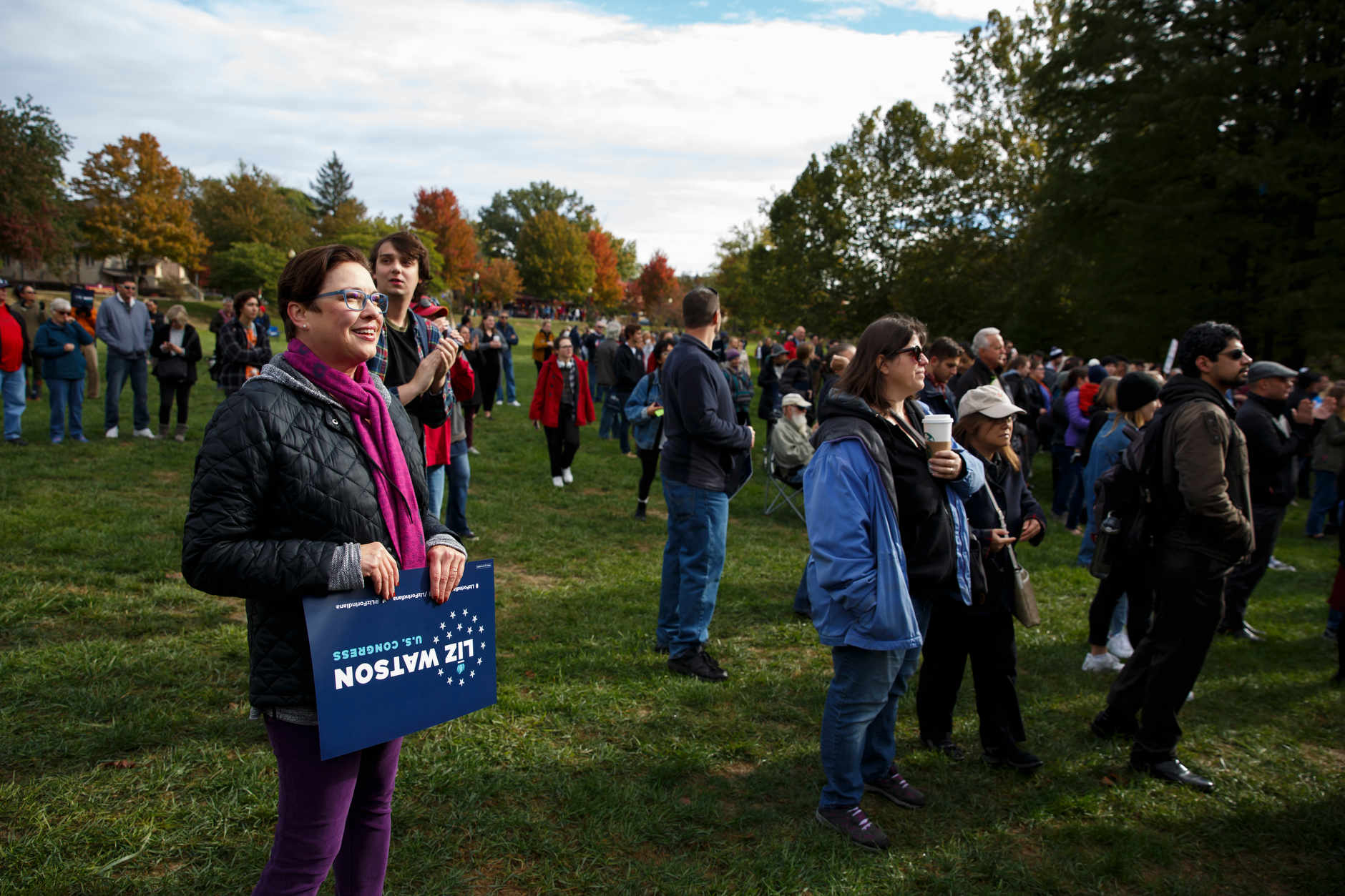 Supporters gather for a rally for Liz Watson, the Democratic nominee for Indiana's 9th congressional district, in Dunn Meadow at Indiana University Bloomington on Friday, Oct. 19, 2018. (James Brosher/IU Communications)
