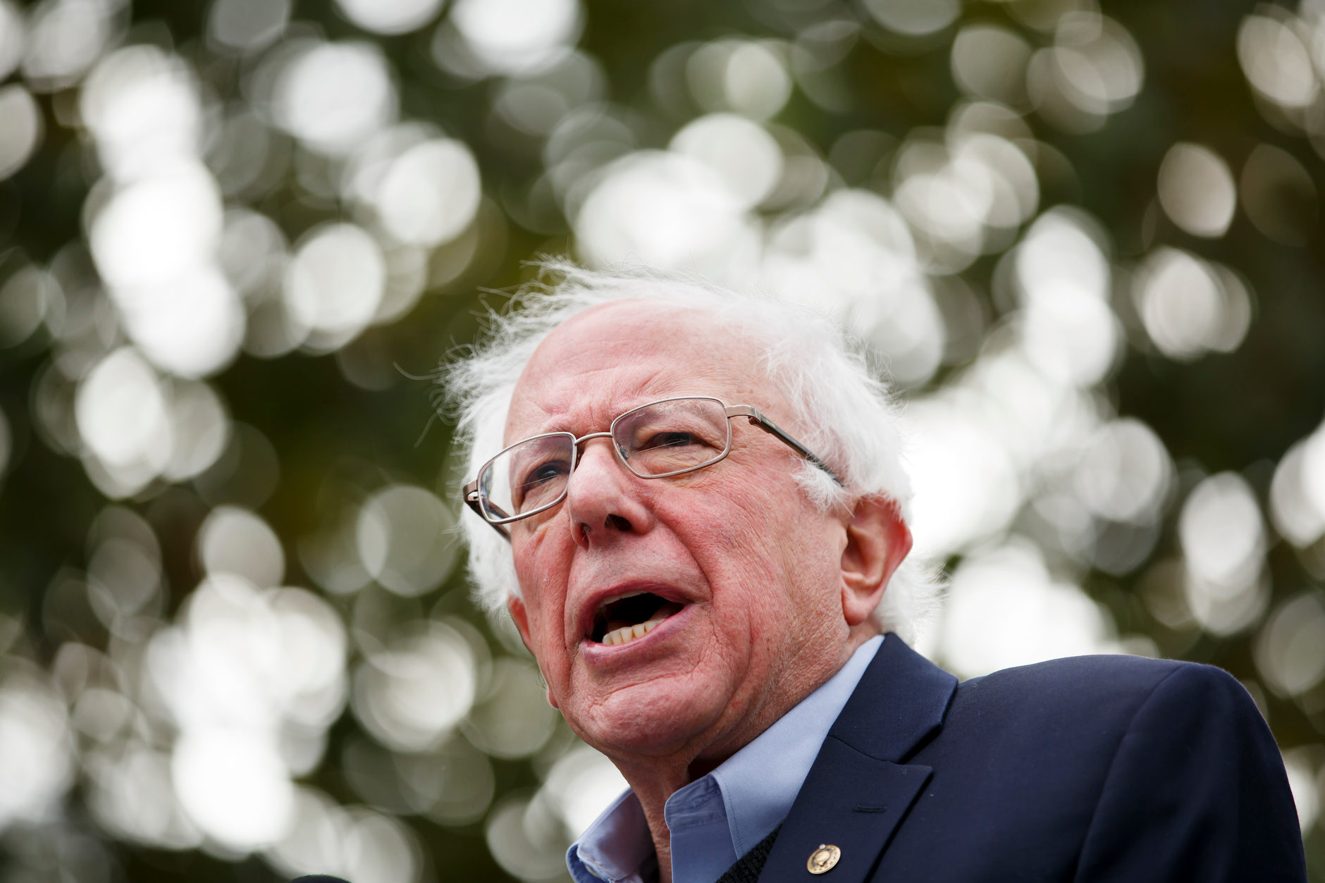 U.S. Sen. Bernie Sanders, I-VT, speaks during a rally for Liz Watson, the Democratic nominee for Indiana's 9th congressional district, in Dunn Meadow at Indiana University Bloomington on Friday, Oct. 19, 2018. (James Brosher/IU Communications)