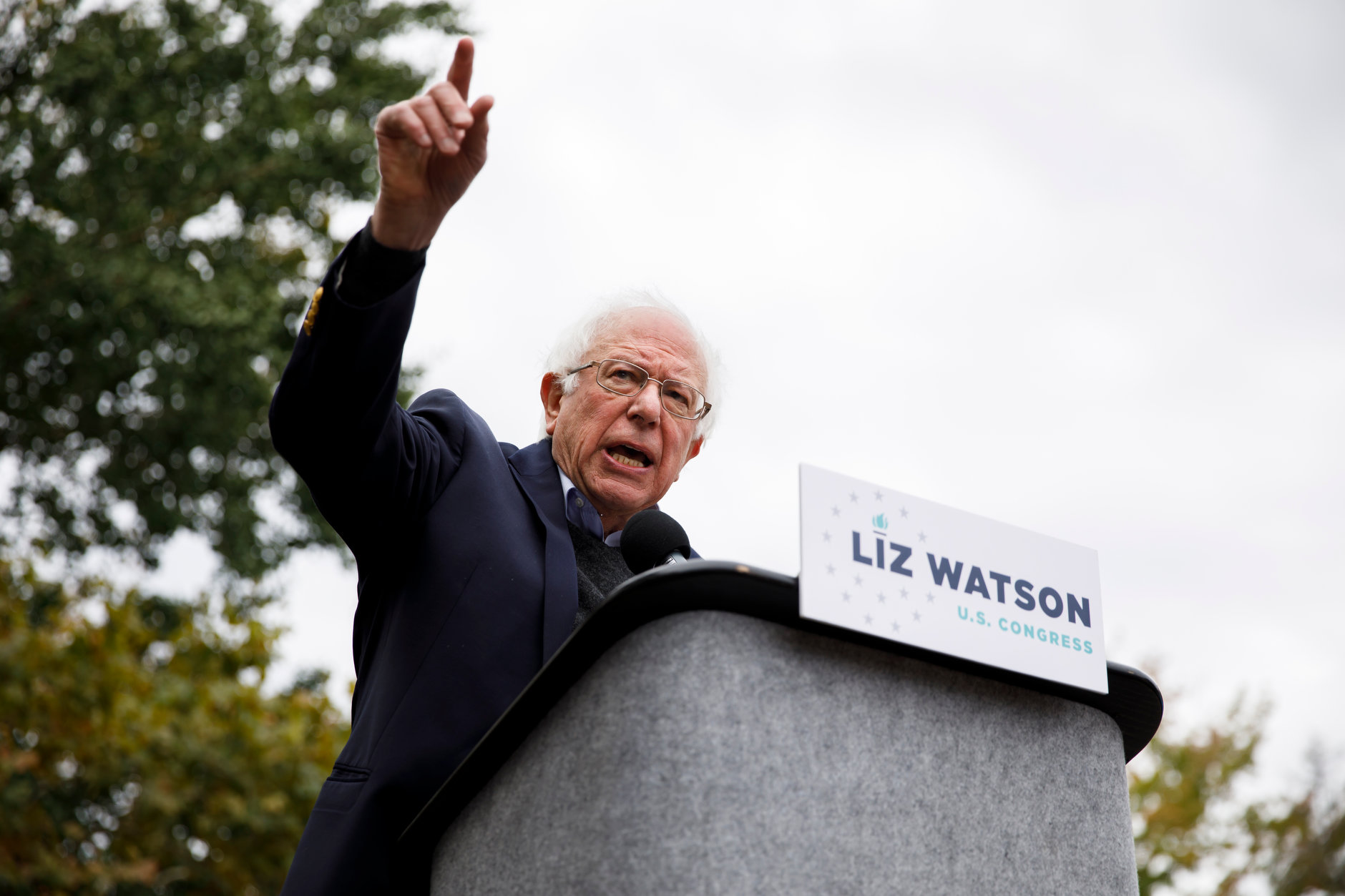U.S. Sen. Bernie Sanders, I-VT, campaigns for Liz Watson, the Democratic nominee for Indiana's 9th congressional district, during a rally in Dunn Meadow at Indiana University Bloomington on Friday, Oct. 19, 2018. (James Brosher/IU Communications)