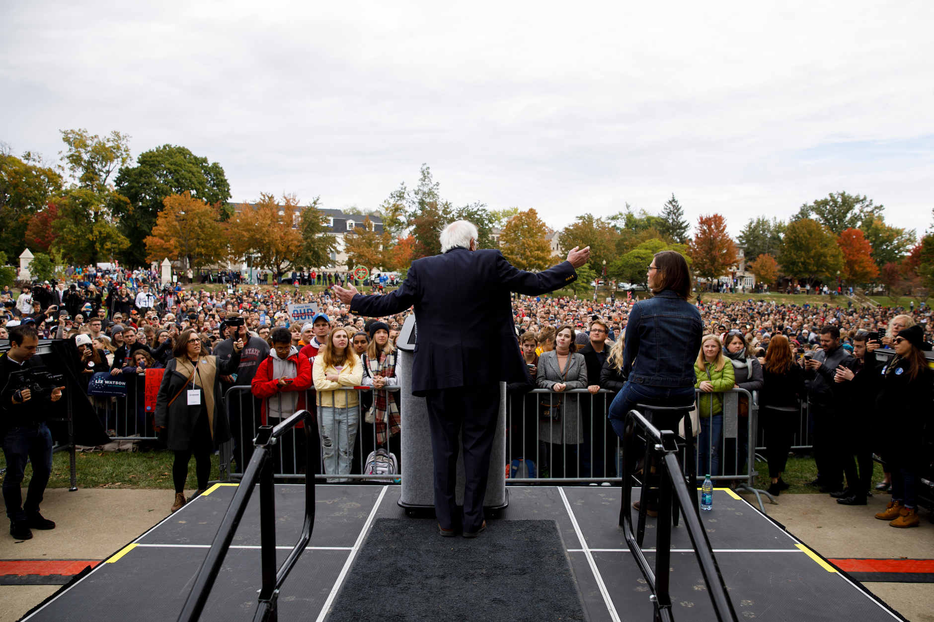 U.S. Sen. Bernie Sanders, I-VT, left, speaks during a rally for Liz Watson, right, the Democratic nominee for Indiana's 9th congressional district, in Dunn Meadow at Indiana University Bloomington on Friday, Oct. 19, 2018. (James Brosher/IU Communications)