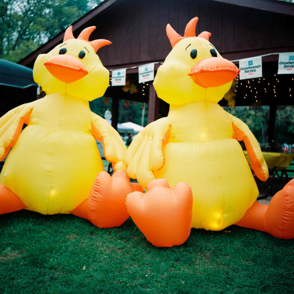 Inflatable ducks are pictured during the Ducktail Run Rod and Custom Show in Gas City, Indiana on Saturday, Sept. 29, 2018. (Photo by James Brosher)