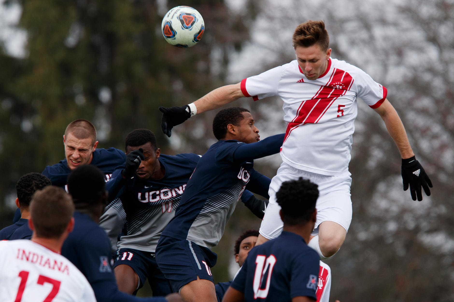 Indiana's Timmy Mehl (5) attempts to connect off a corner kick during the first half of an NCAA men's soccer tournament match at Bill Armstrong Stadium in Bloomington, Ind. on Sunday, Nov. 18, 2018. (James Brosher for The Herald-Times)