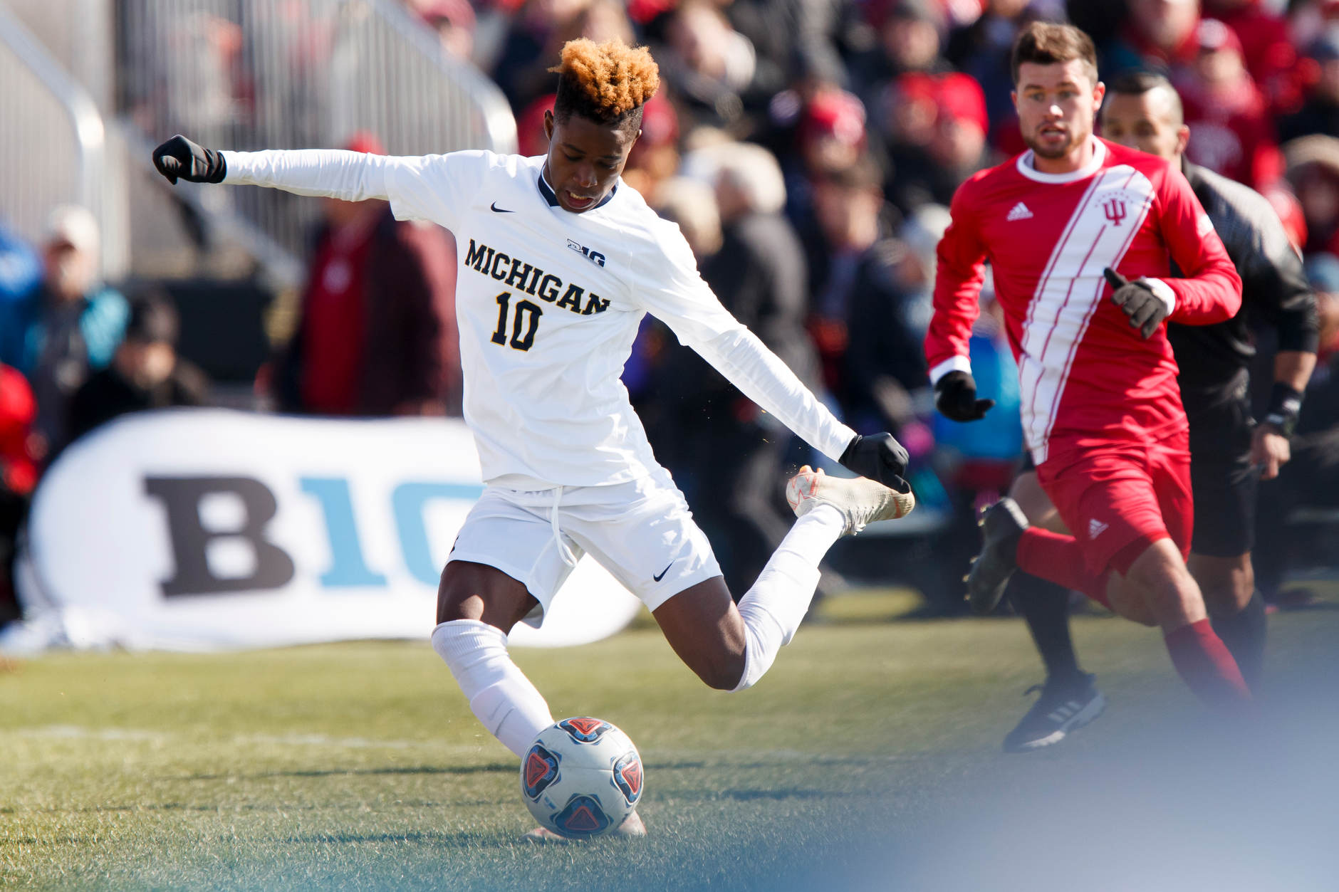 Michigan's Umar Farouk Osman (10) takes a shot during the Big Ten Men's Soccer Tournament championship game against Indiana at Grand Park in Westfield, Indiana on Sunday, Nov. 11, 2018. (Photo by James Brosher)