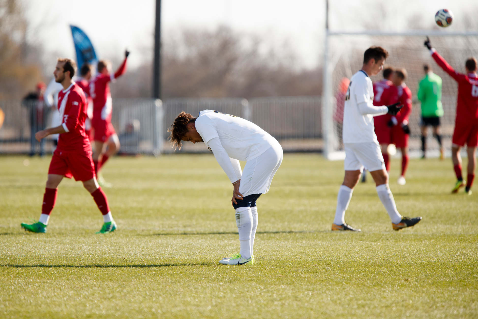 Michigan's Abdou Samake (5) reacts after a 3-0 loss to Indiana in the Big Ten Men's Soccer Tournament championship game at Grand Park in Westfield, Indiana on Sunday, Nov. 11, 2018. (Photo by James Brosher)