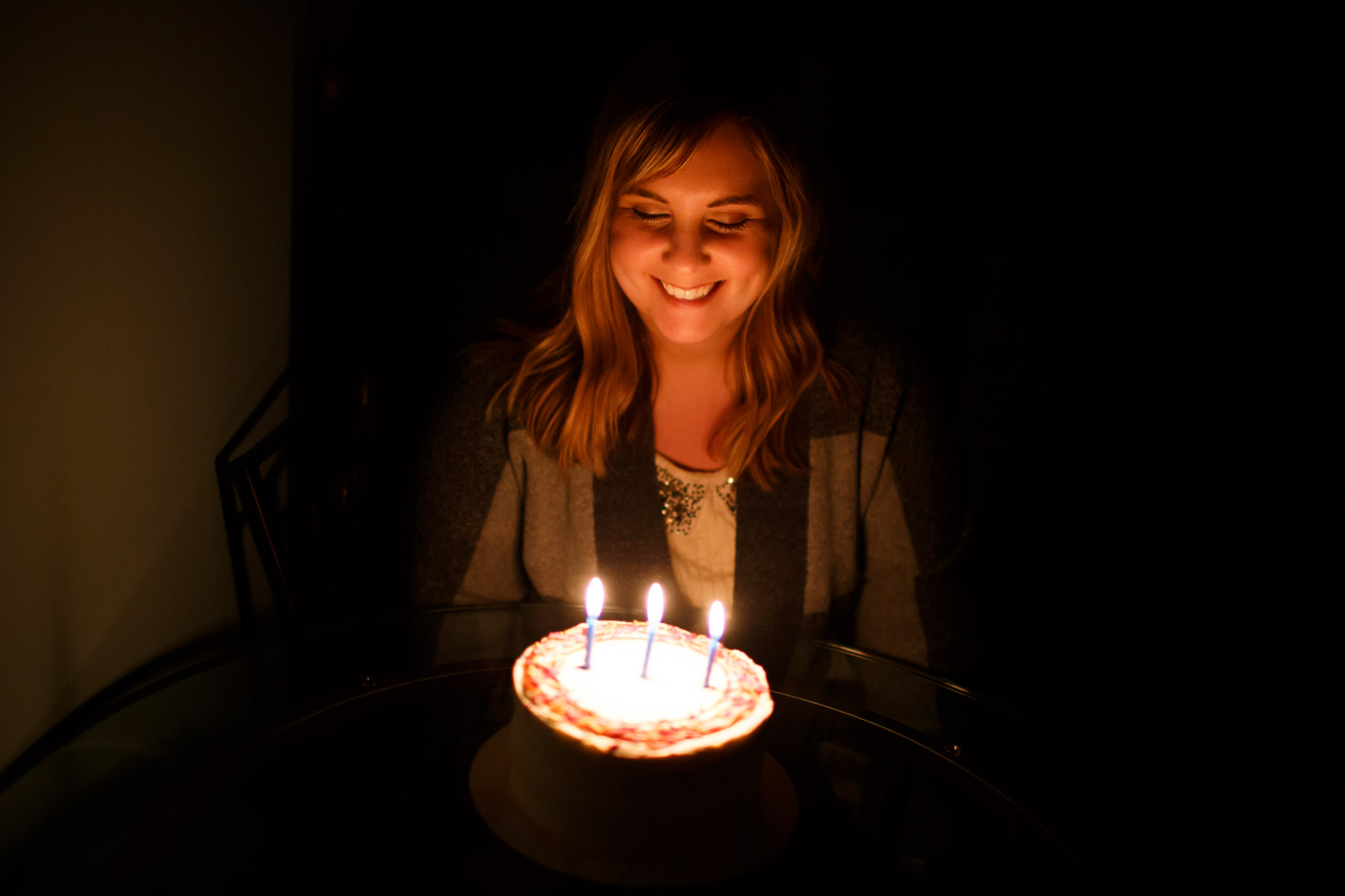 Barbara Brosher is pictured with her birthday cake at an Airbnb rental in Indianapolis, Indiana on Thursday, Jan. 24, 2019. (Photo by James Brosher)