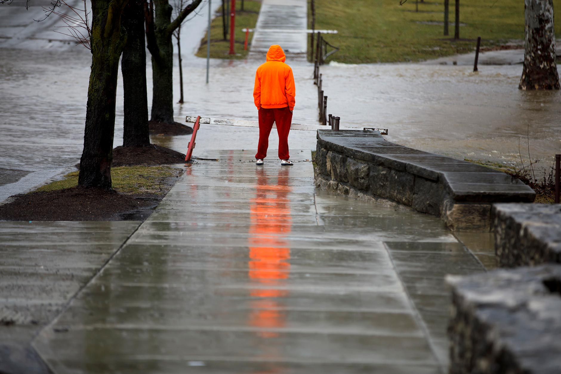 A worker watches as a flooding Jordan River flows across Indiana Avenue near Franklin Hall at IU Bloomington on Thursday, Feb. 7, 2019. (James Brosher/IU Communications)