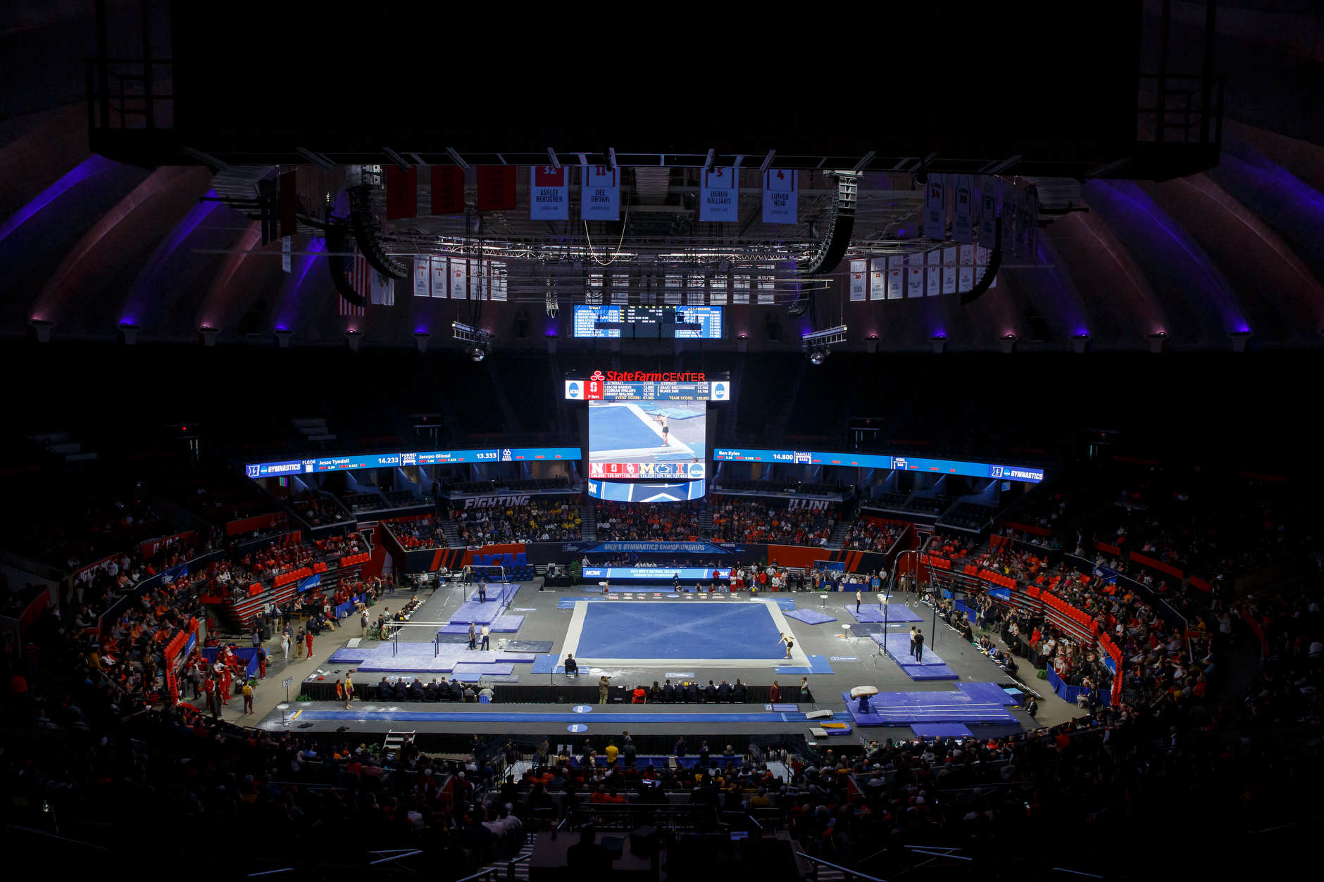 Teams compete at the NCAA Men's Gymnastics Championships on Saturday, April 20, 2019, at the State Farm Center in Champaign, Illinois. (Photo by James Brosher)