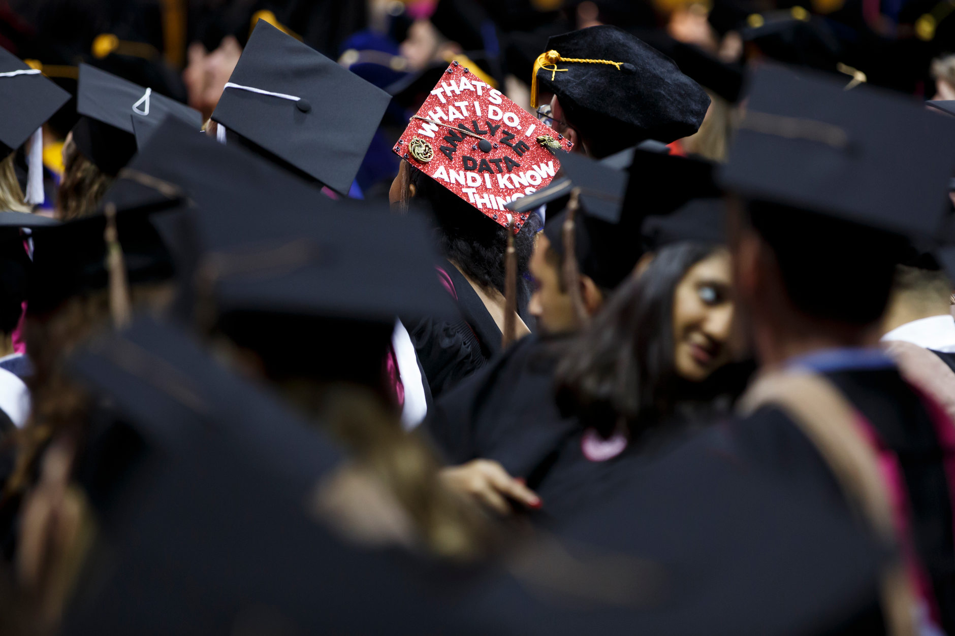 A graduate wears a decorated mortarboard during the Indiana University Bloomington Graduate Commencement at Assembly Hall on Friday, May 3, 2019. (James Brosher/Indiana University)