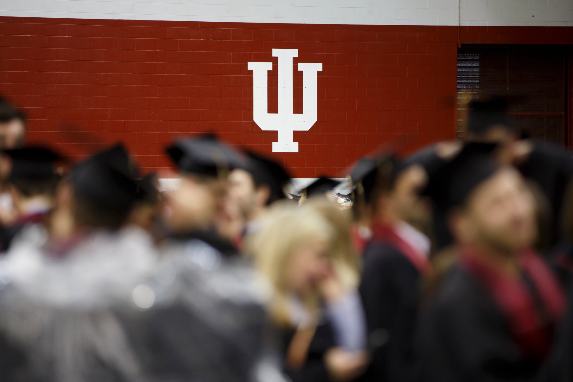Graduates line up for the Indiana University Bloomington Undergraduate Commencement inside Mellencamp Pavilion on Saturday, May 4, 2019. (James Brosher/Indiana University)