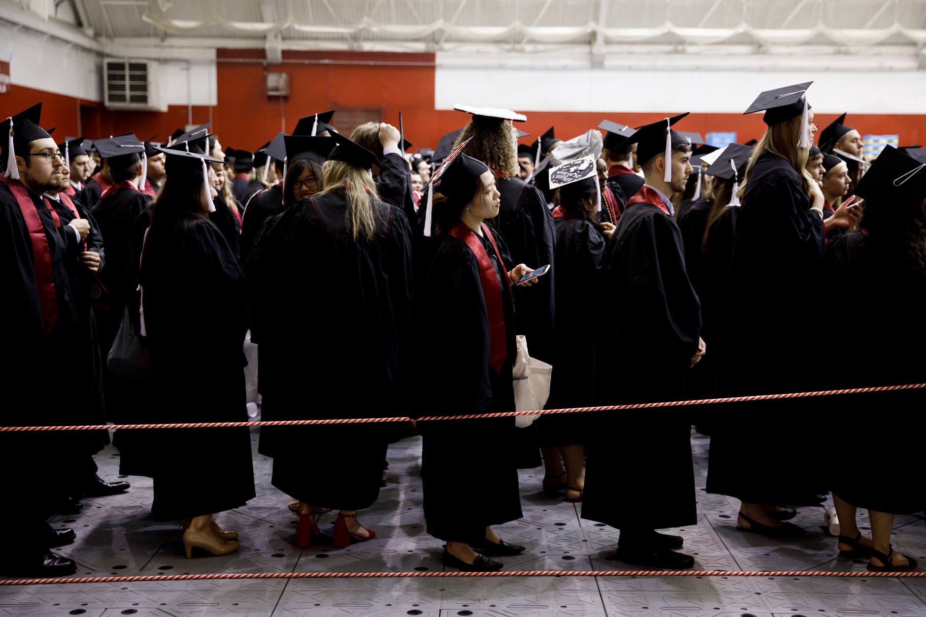 Graduates line up for the processional inside Mellencamp Pavilion before the Indiana University Bloomington Undergraduate Commencement on Saturday, May 4, 2019. (James Brosher/Indiana University)
