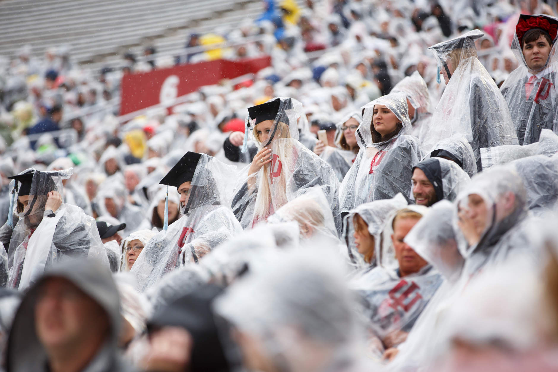 Graduates walk in the processional for the Indiana University Bloomington Undergraduate Commencement at Memorial Stadium on Saturday, May 4, 2019. (James Brosher/Indiana University)