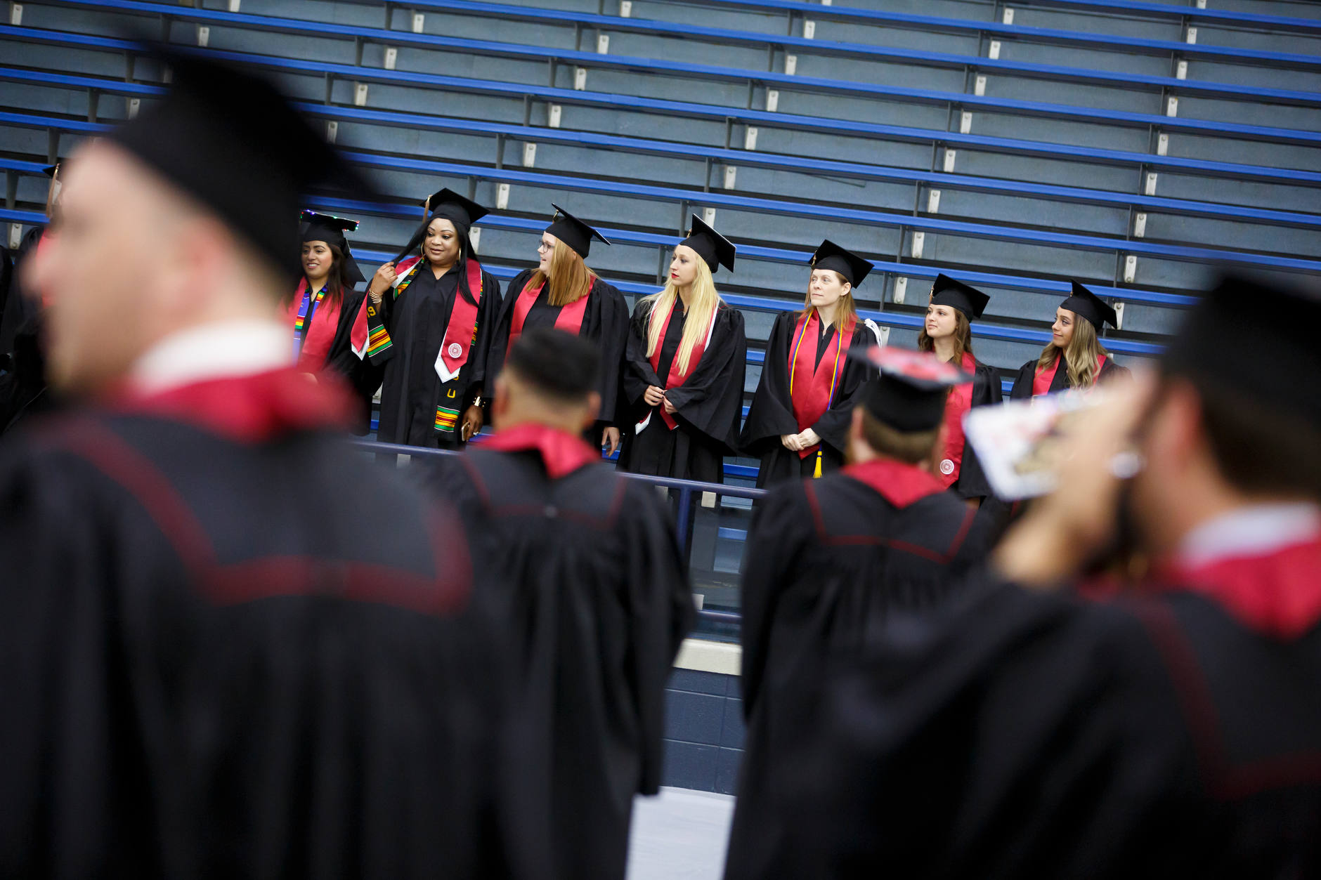 Graduates line up for a group photo before the IU South Bend Commencement at the University of Notre Dame on Tuesday, May 7, 2019. (James Brosher/Indiana University)