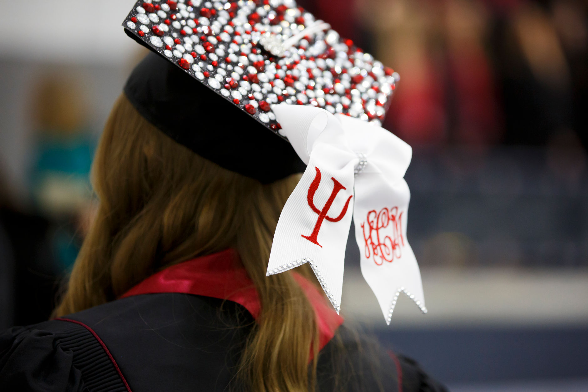 A graduate wears a decorated mortarboard before the Indiana University South Bend Commencement at the University of Notre Dame on Tuesday, May 7, 2019. (James Brosher/Indiana University)