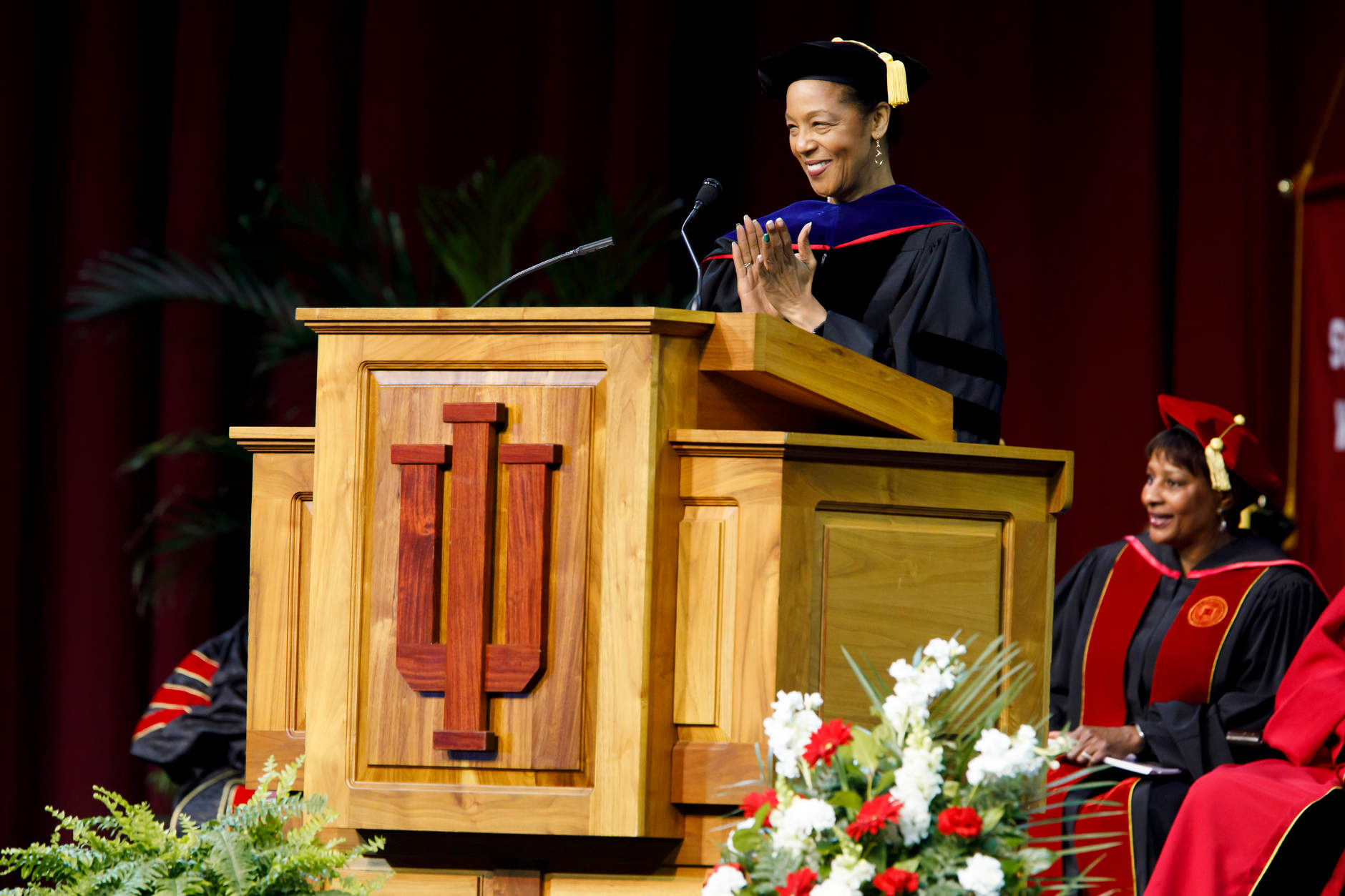 Indiana University South Bend Interim Chancellor Jann Joseph speaks during the IU South Bend Commencement at the University of Notre Dame on Tuesday, May 7, 2019. (James Brosher/Indiana University)