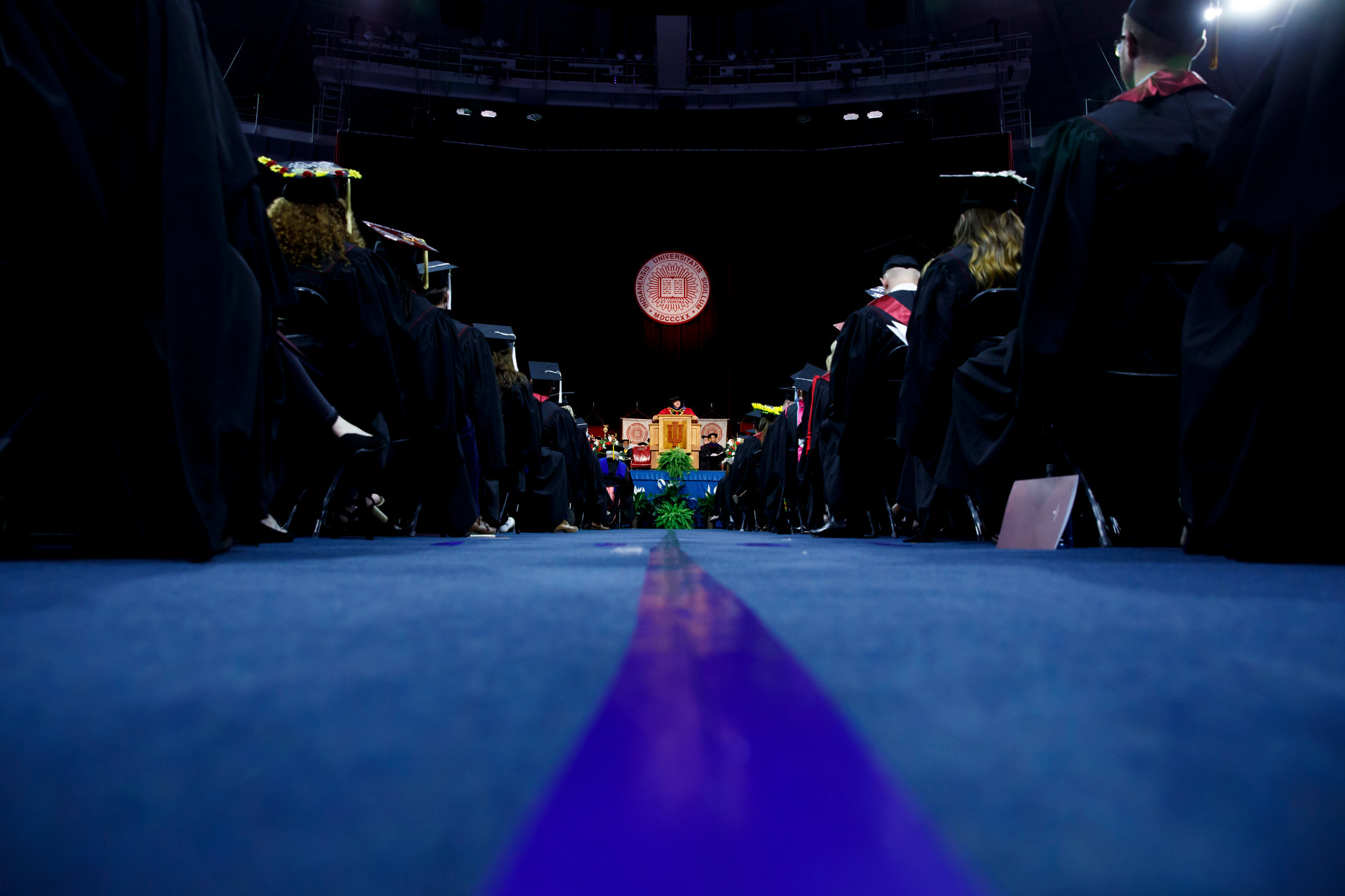 Indiana University President Michael A. McRobbie speaks during the IU South Bend Commencement at the University of Notre Dame on Tuesday, May 7, 2019. (James Brosher/Indiana University)