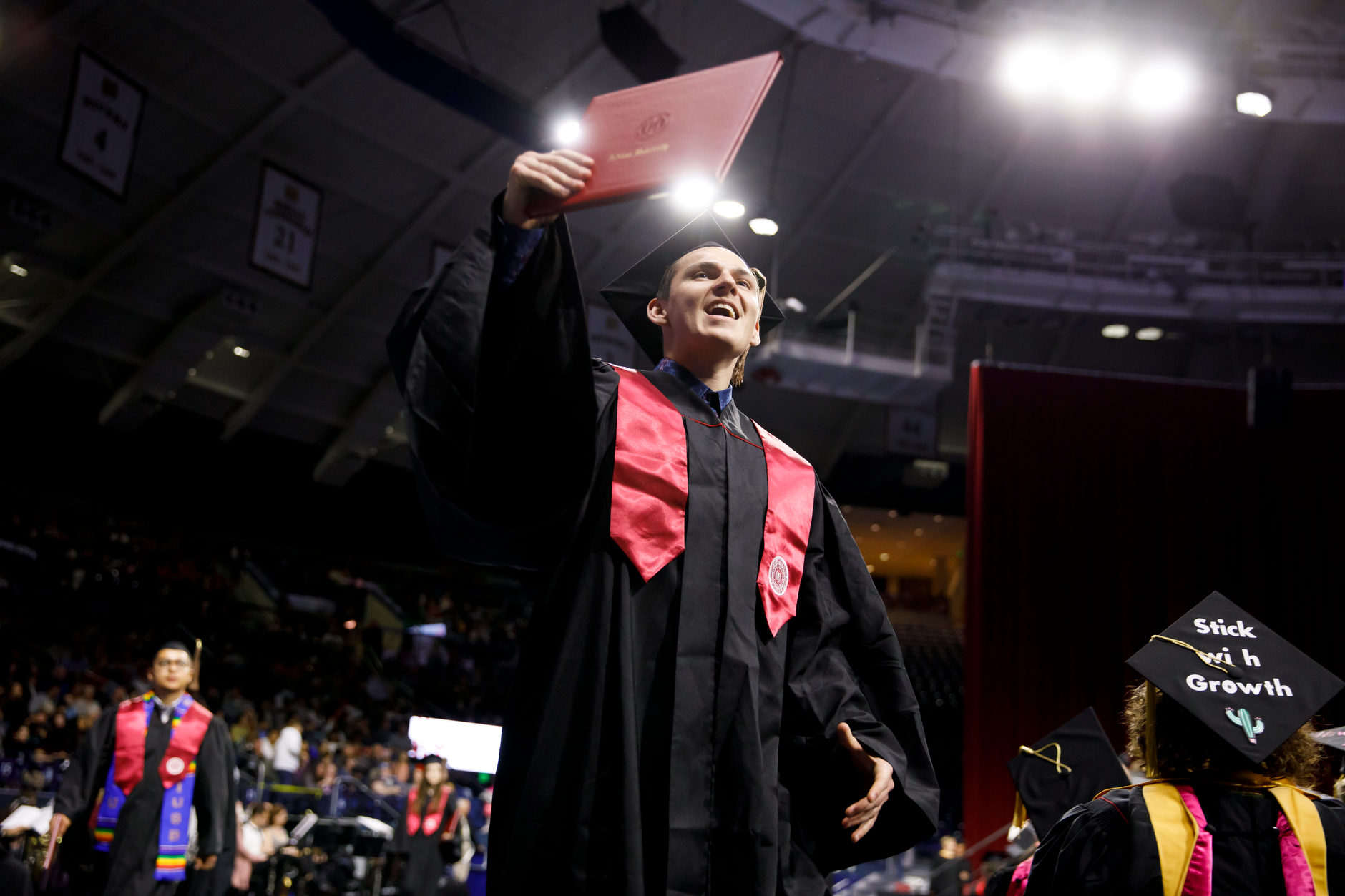 A graduate cheers after receiving his diploma at the Indiana University South Bend Commencement at the University of Notre Dame on Tuesday, May 7, 2019. (James Brosher/Indiana University)