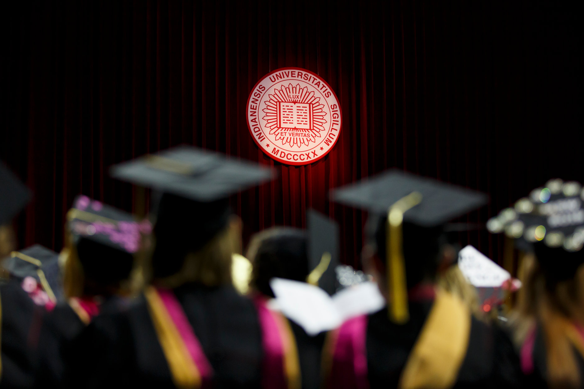 The Indiana University seal is pictured during the IU South Bend Commencement at the University of Notre Dame on Tuesday, May 7, 2019. (James Brosher/Indiana University)