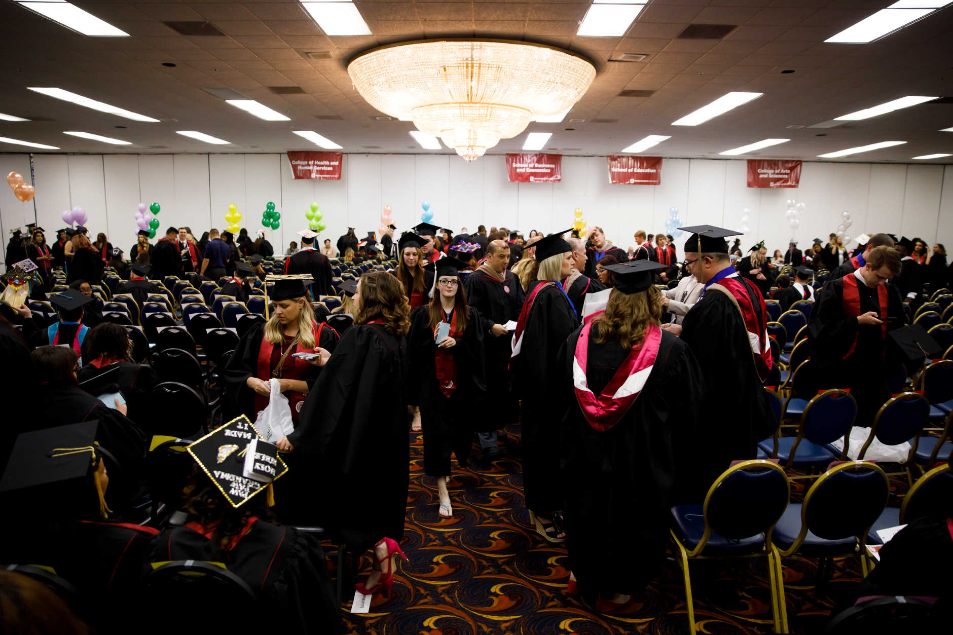 Graduates line up before the IU Northwest Commencement at the Genesis Convention Center on Thursday, May 9, 2019. (James Brosher/Indiana University)