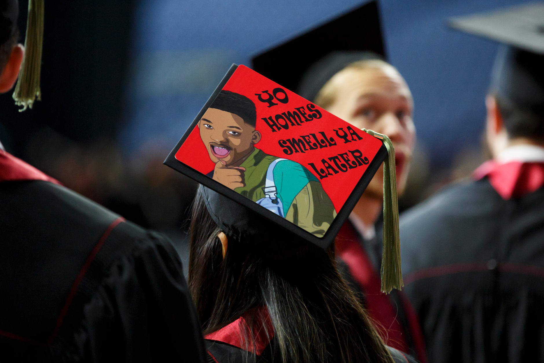 A graduate wears a decorated mortarboard during the IUPUI Commencement at Lucas Oil Stadium on Saturday, May 11, 2019. (James Brosher/Indiana University)