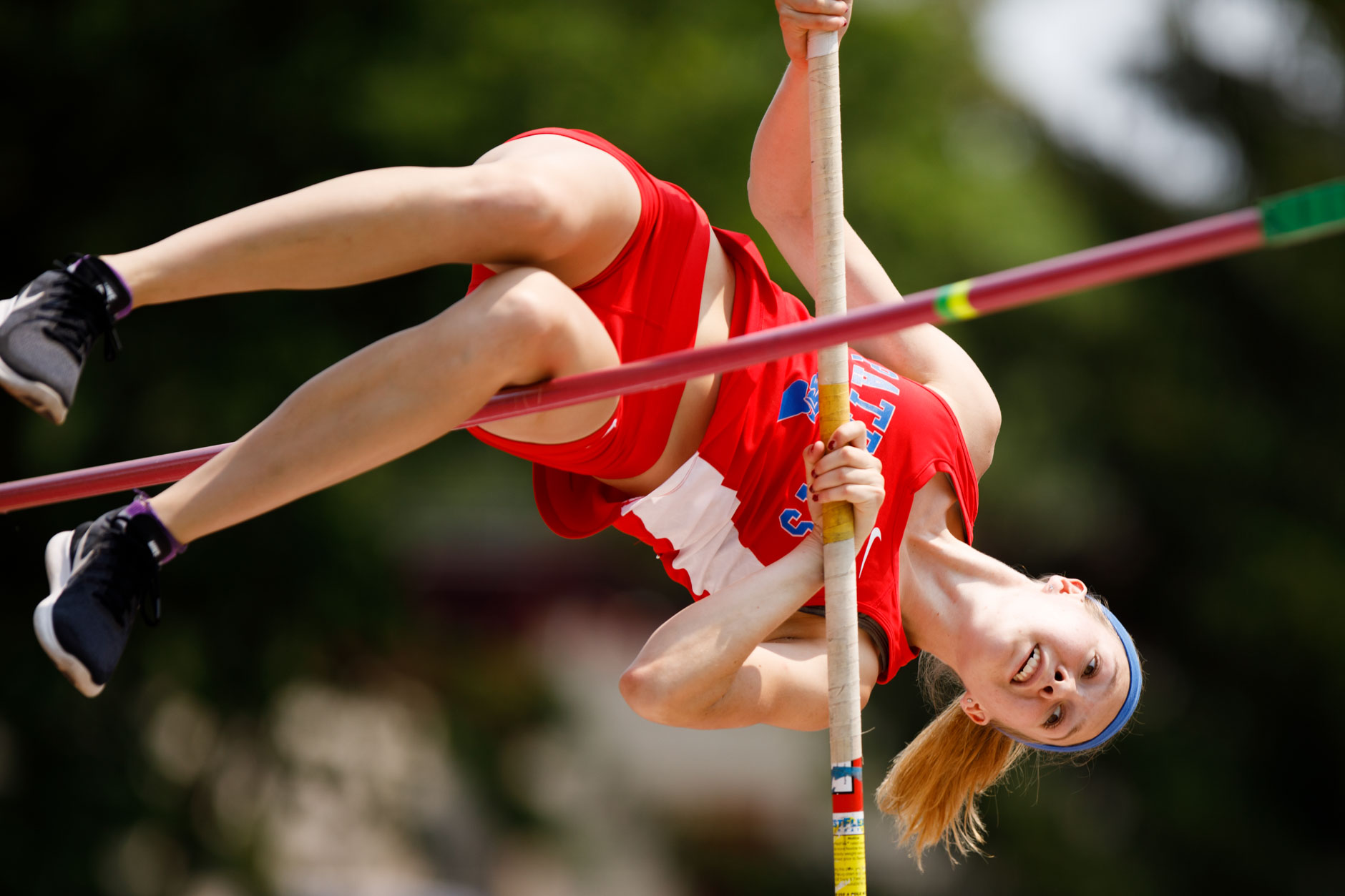 Owen Valley's Dazia Drake competes in the pole vault during the IHSAA Girls Track and Field State Finals in Bloomington, Indiana on Saturday, June 1, 2019. (James Brosher for The Herald-Times)